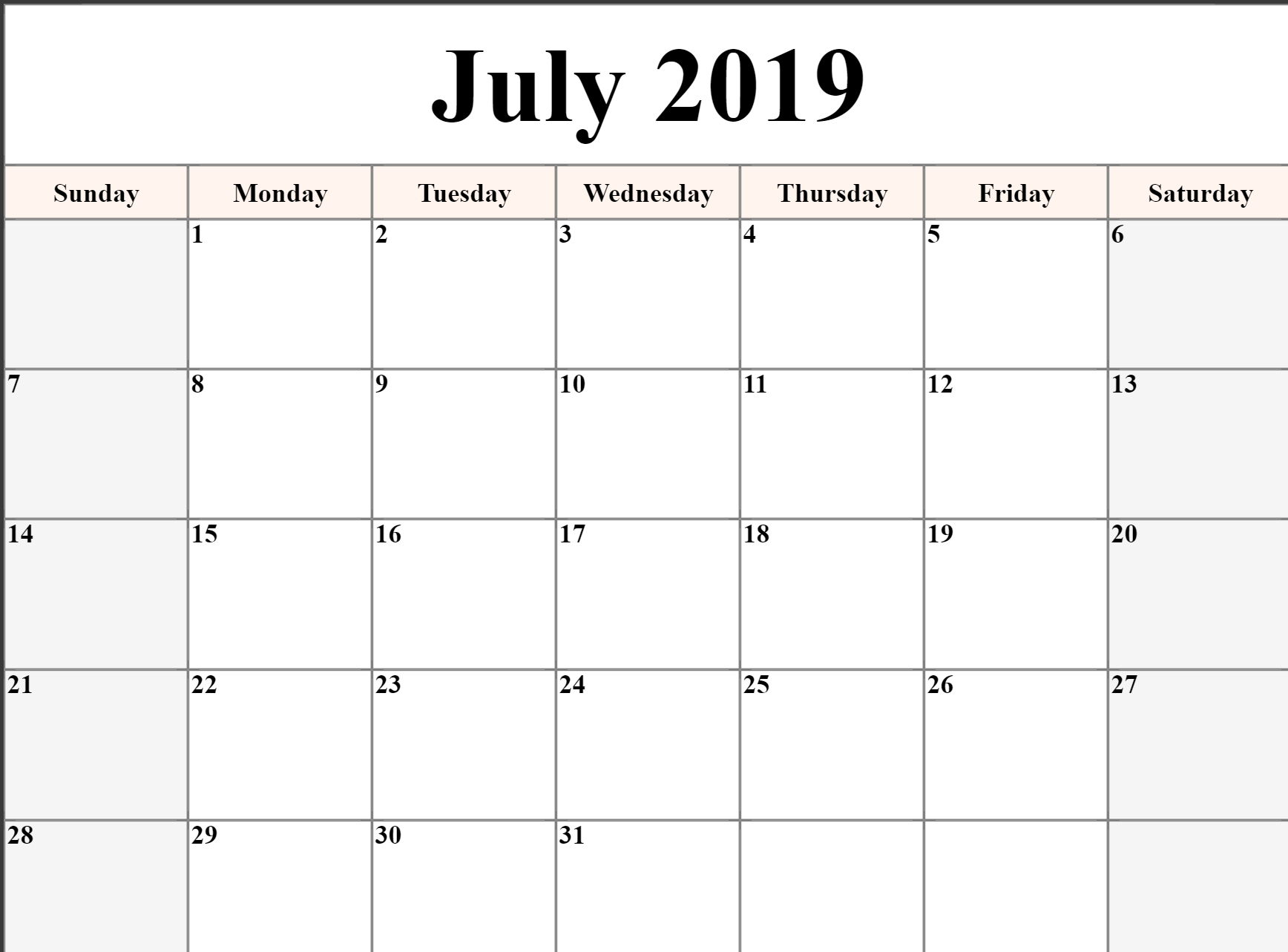 Editable July 2019 Calendar Blank Template Printable Word