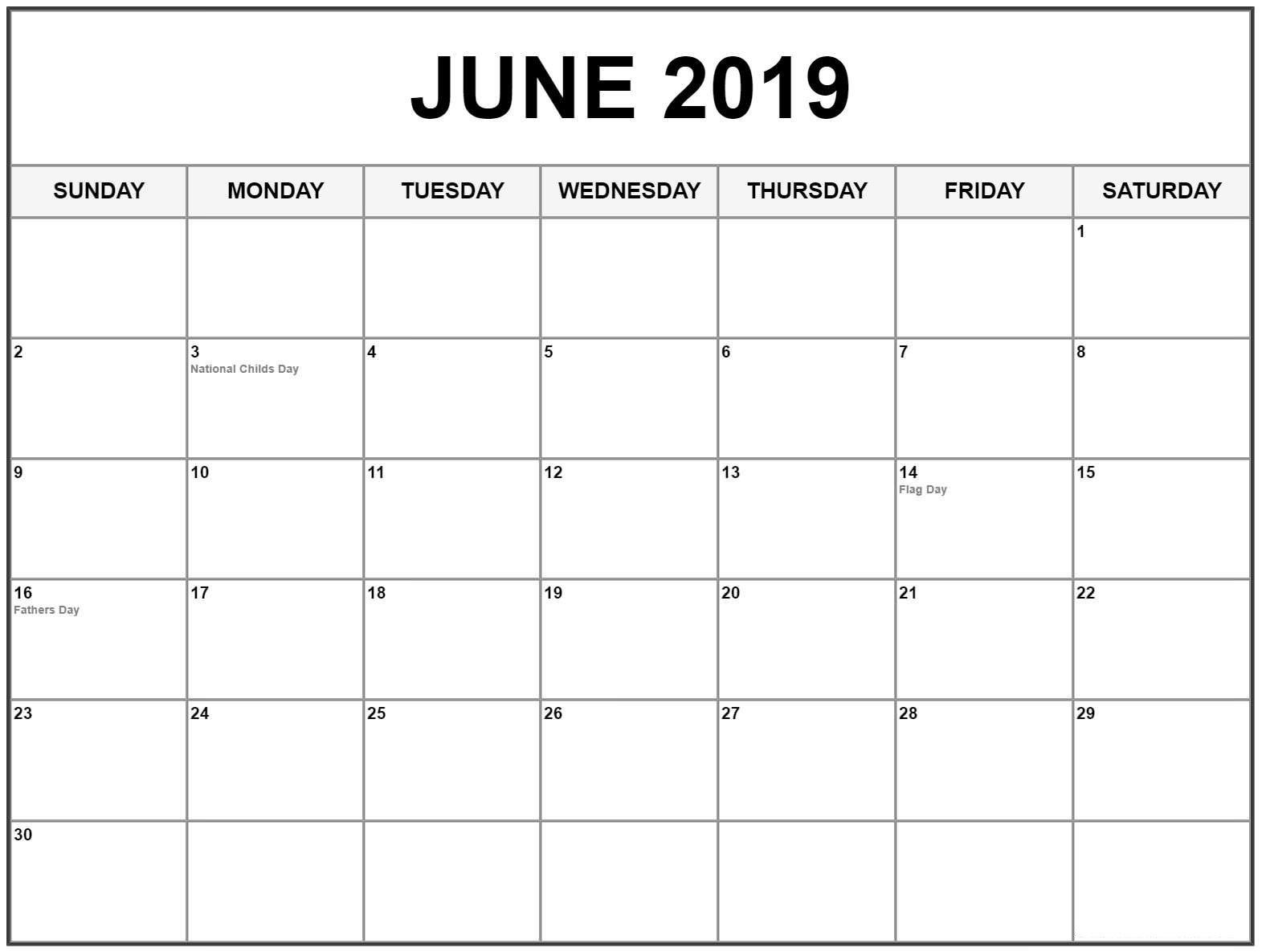 Editable June 2019 Calendar #june #junecalendar2019