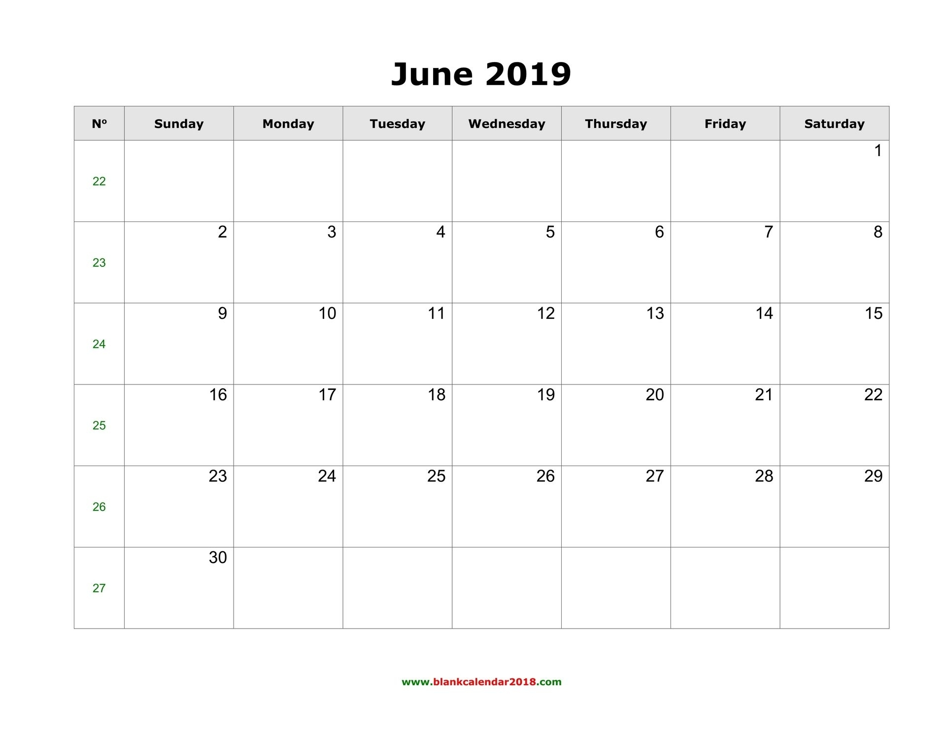 Editable June 2019 Calendar Word Template Portrait Landscape