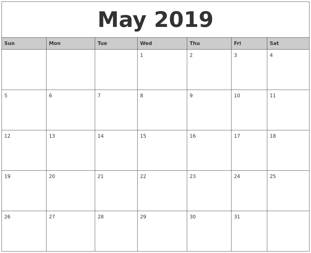 Editable May 2019 Calendar Word #may2019 #2019Calendar