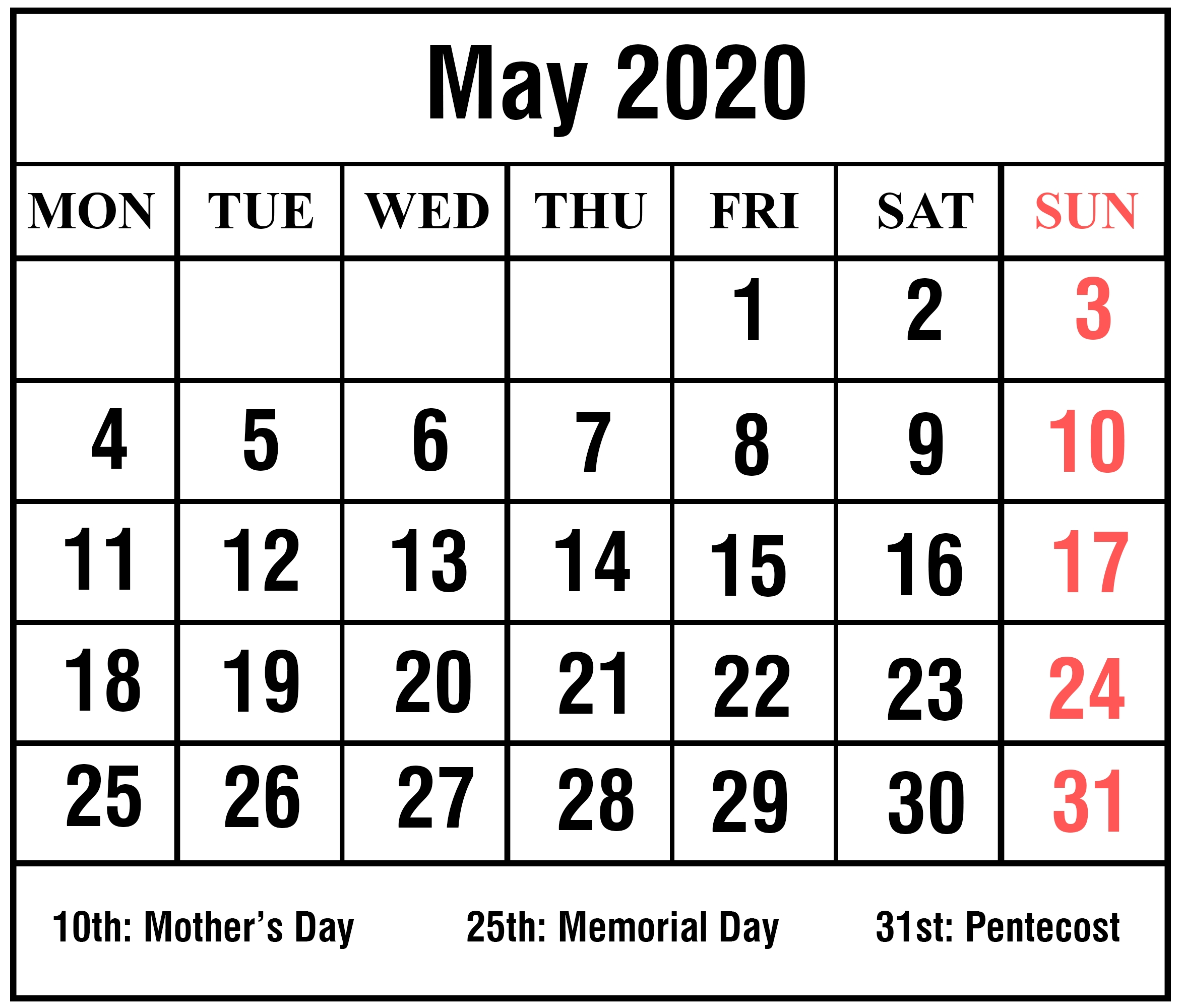 Editable May 2020 Calendar To Print Pdf Word Blank Blank