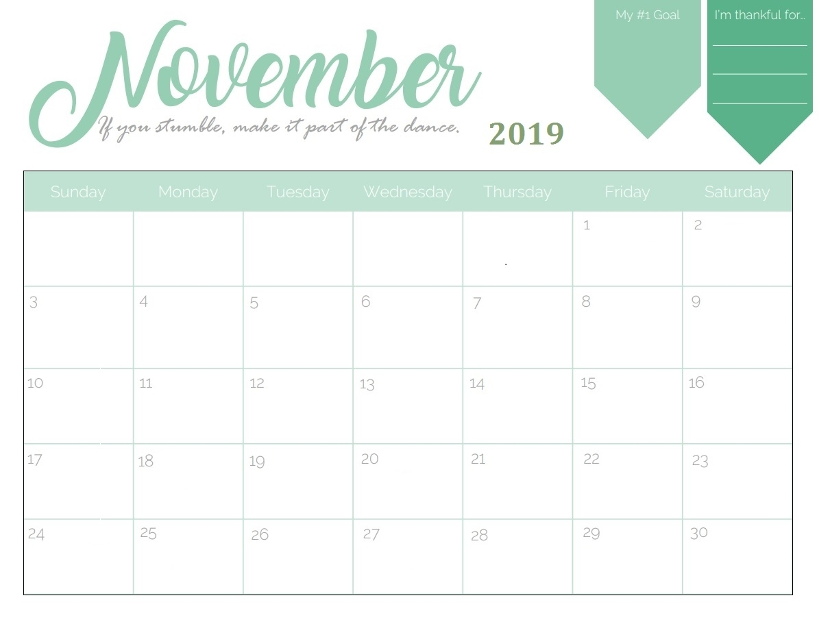 Editable November 2019 Printable Calendar - Word, Pdf, Excel