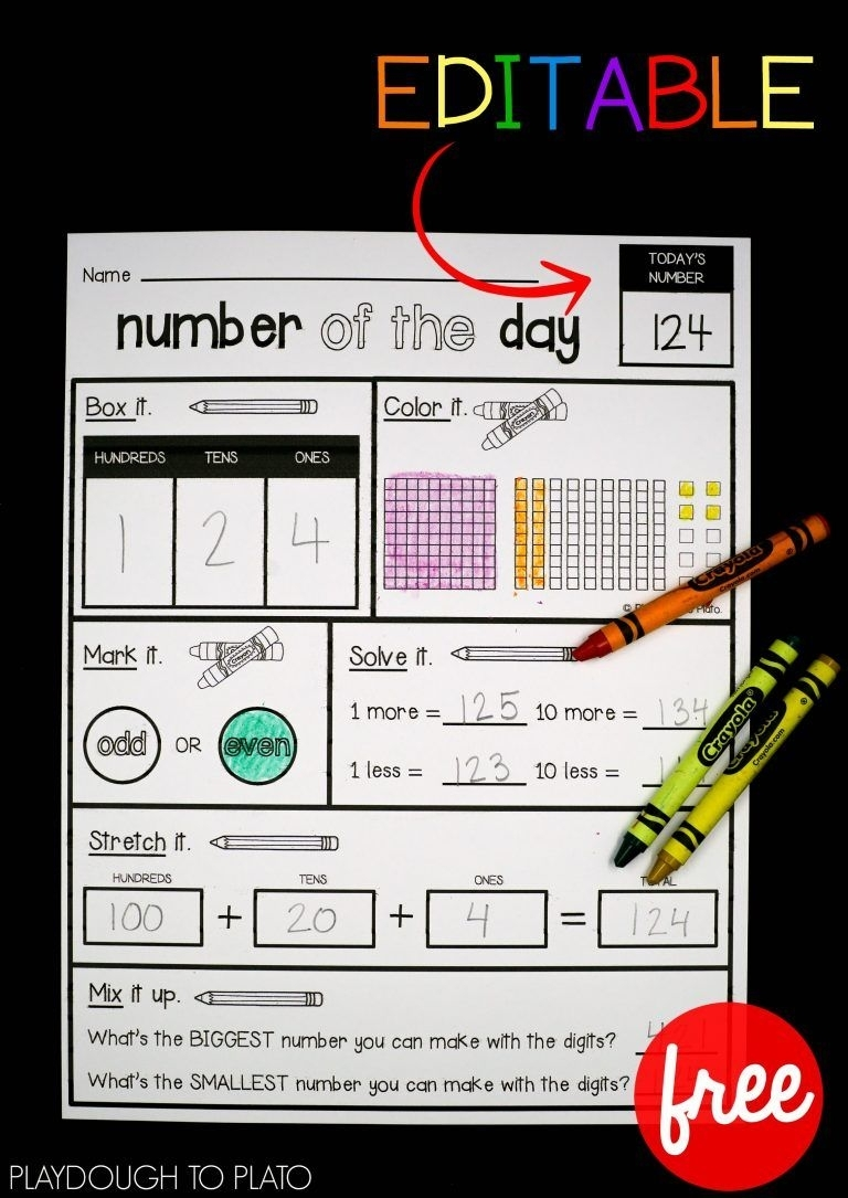 Editable Number Of The Day Sheet | 3Rd Grade Math, 1St Grade
