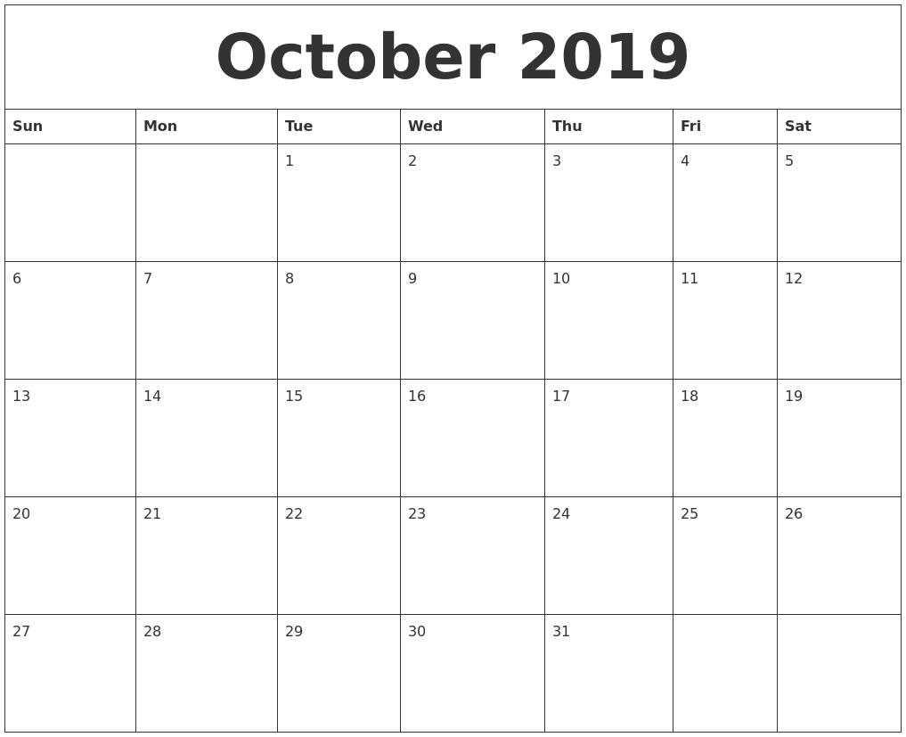 Editable October 2019 Calendar Printable Template