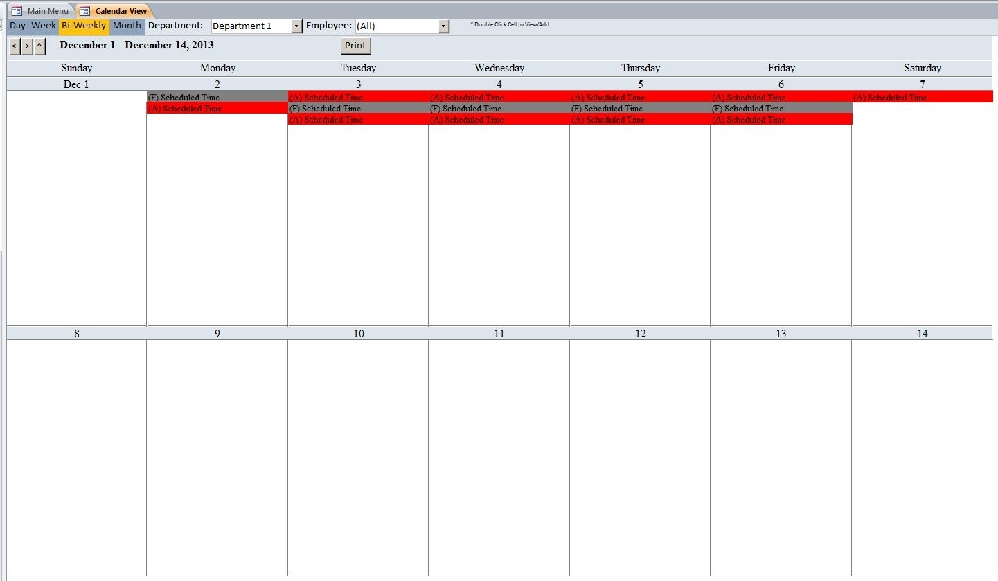 Employee Scheduling Database Template | Employee Scheduling