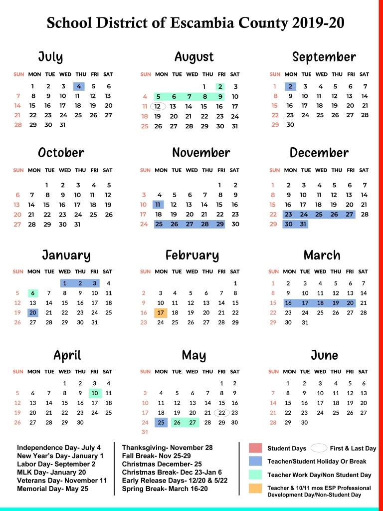 Escambia County Schools Calendar 2019-2020 | Us School Calendar