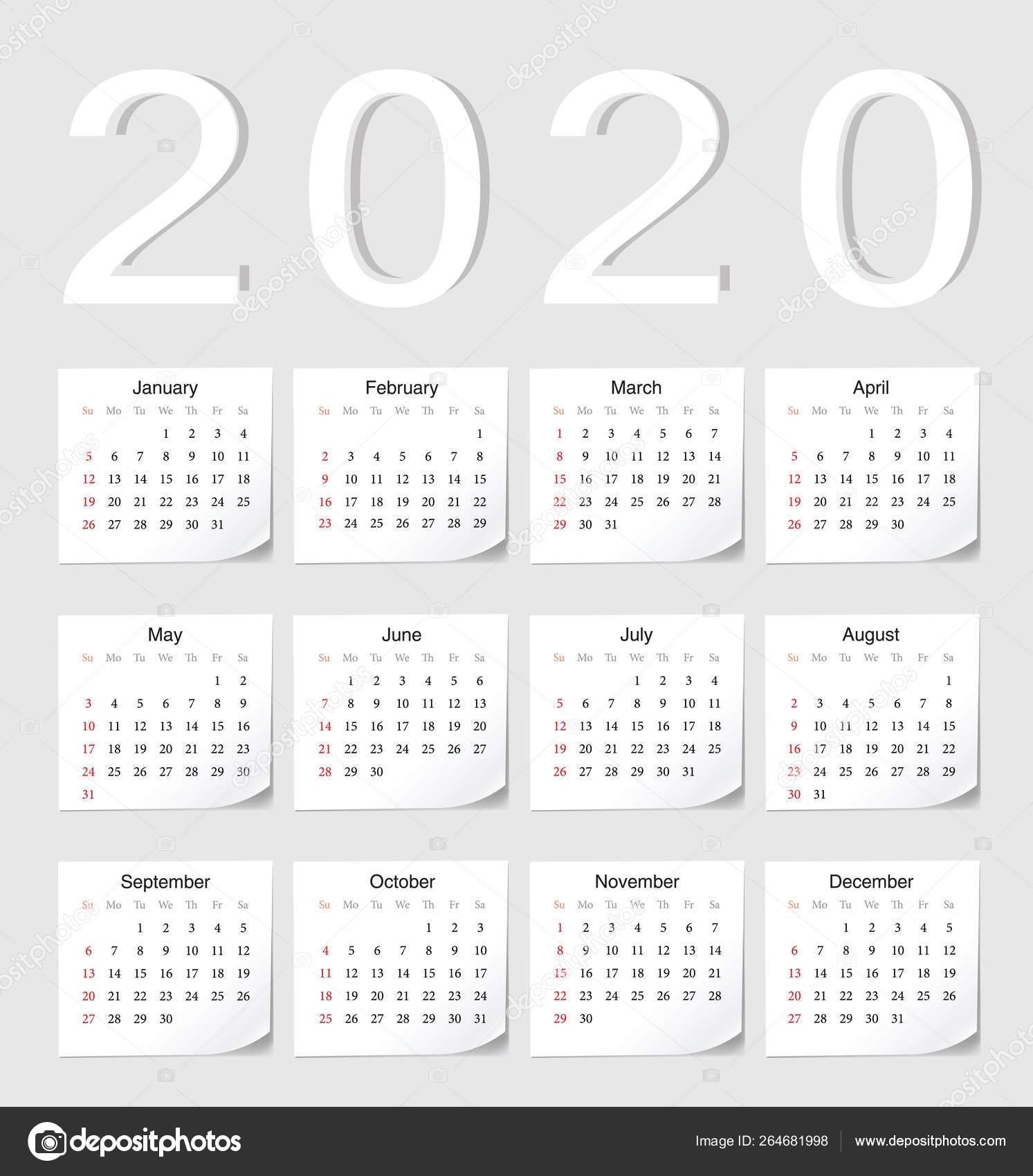 European 2020 Calendar — Stock Vector © Julvil11 #264681998