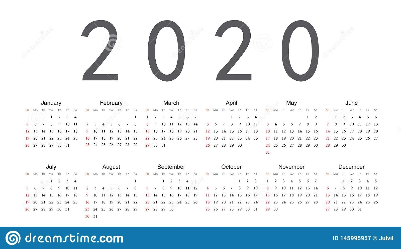 European 2020 Year Vector Calendar Stock Vector