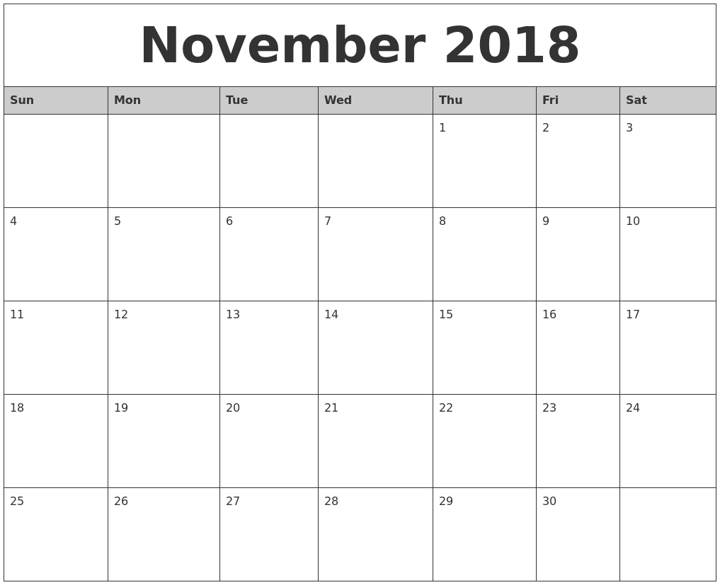 Events 2018 Free Download | November Calendar | November