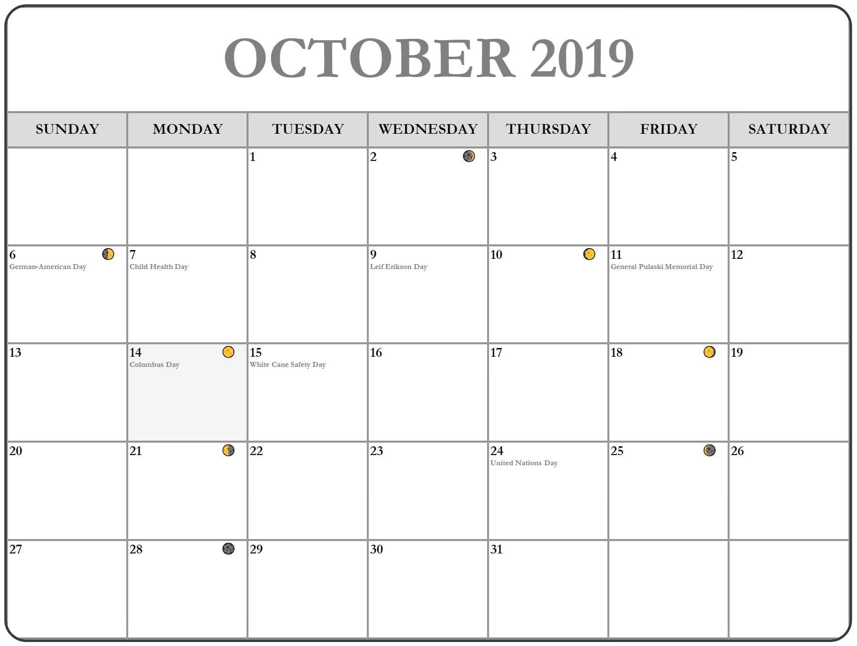 Events October 2019 Calendar With Holiday | December