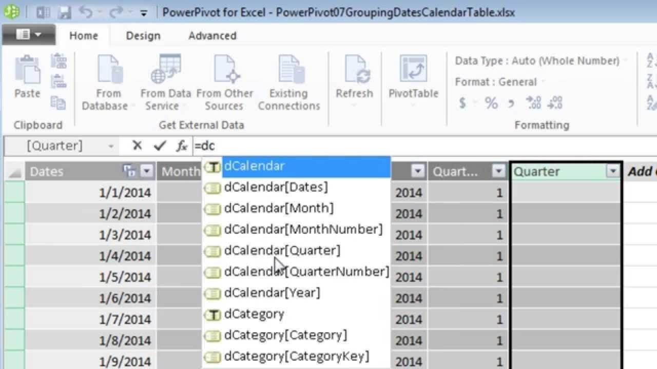 Excel 2013 Powerpivot Basics 7: Calendar Table Calculated Columns: Month  Year Quarter Fiscal Quarter