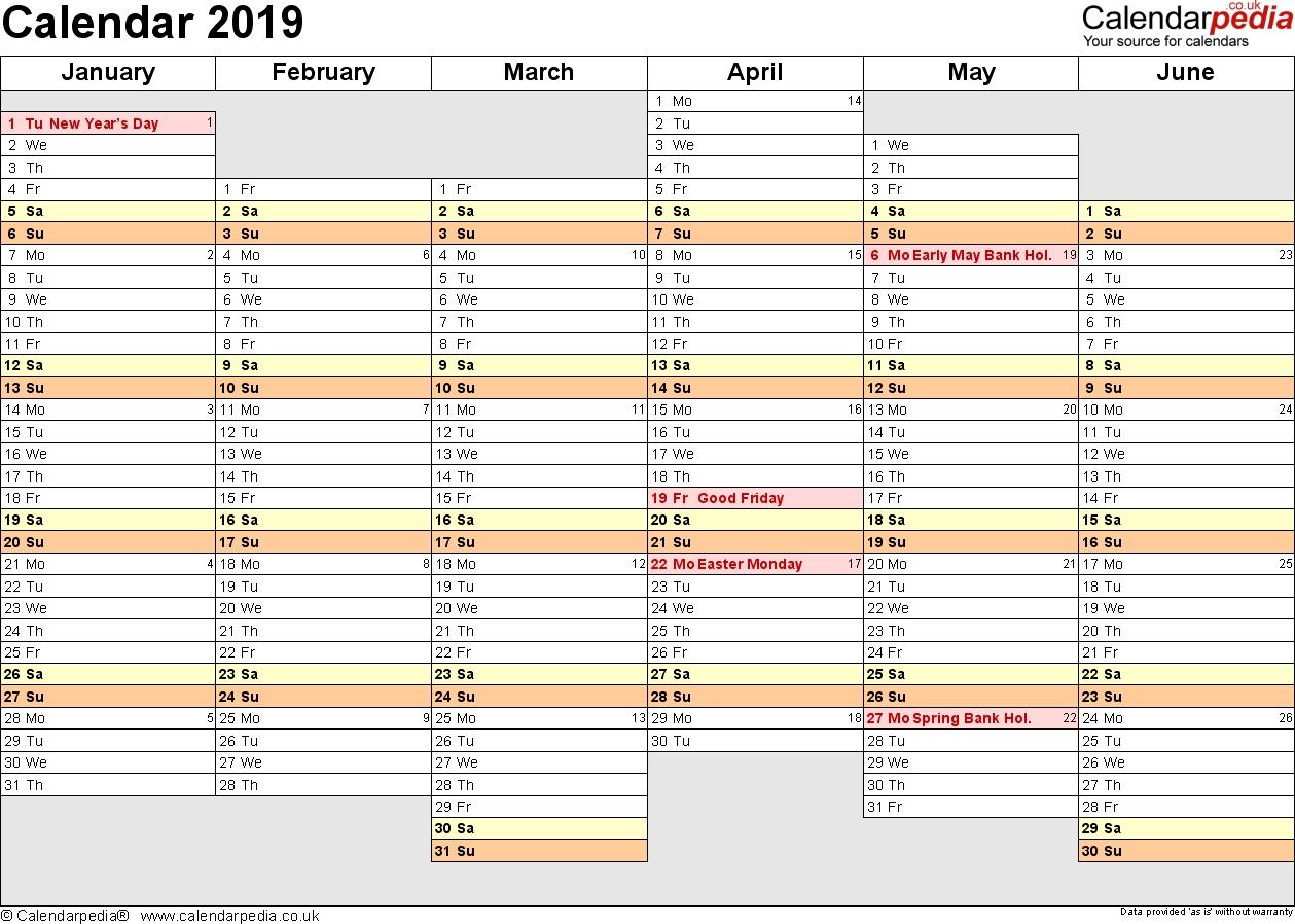 Excel Calendar 2019 (Uk): 17 Printable Templates (Xlsx, Free)