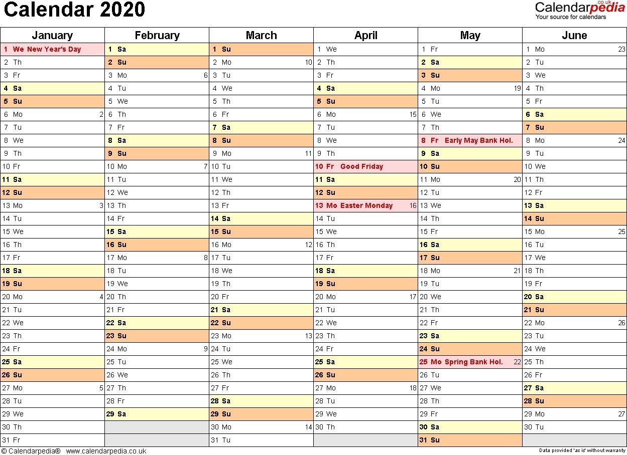 Excel Calendar 2020 (Uk): 17 Printable Templates (Xlsx, Free)