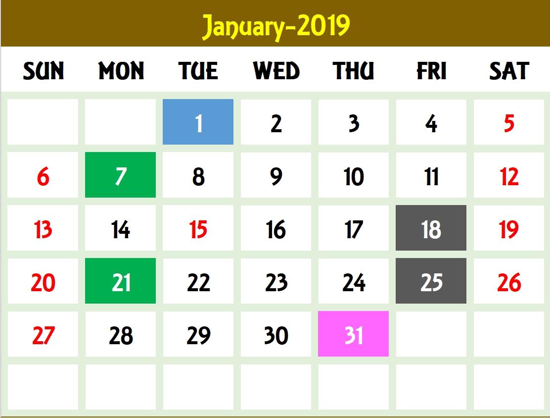 Excel Calendar Template - Excel Calendar 2019, 2020 Or Any Year