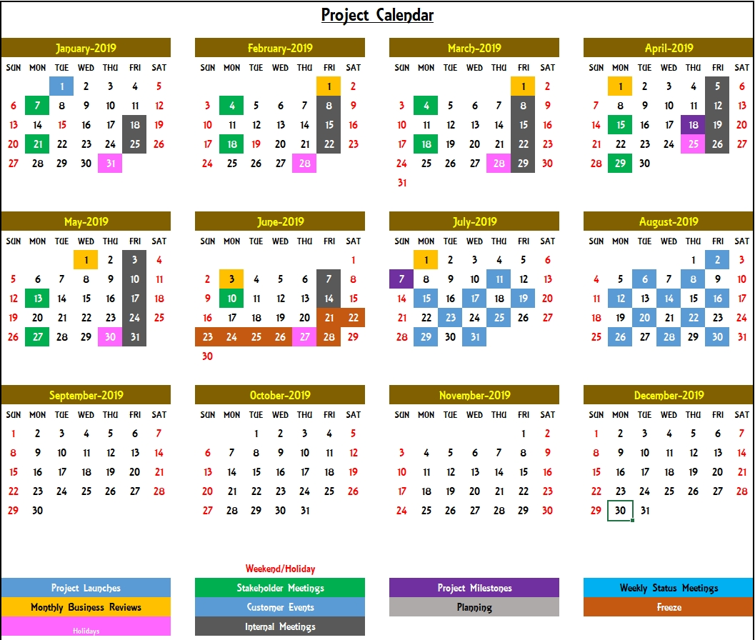 Excel Calendar Template - Excel Calendar 2019, 2020 Or Any Year