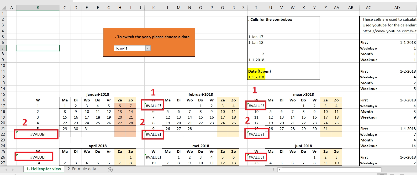 Excel. Weeknum Function. #value! Error. Calendar - Stack