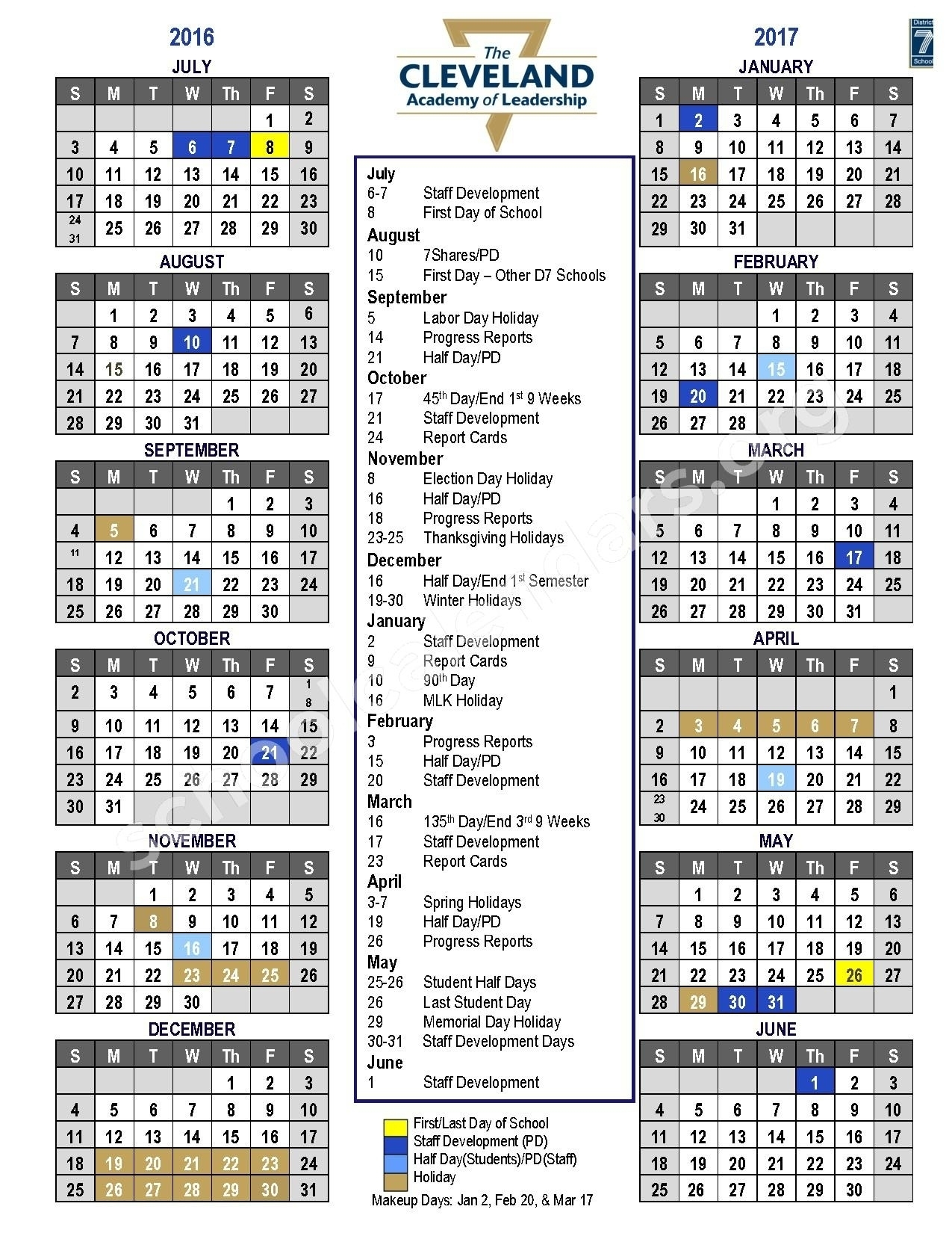 Extraordinary District 7 School Calendar • Printable Blank