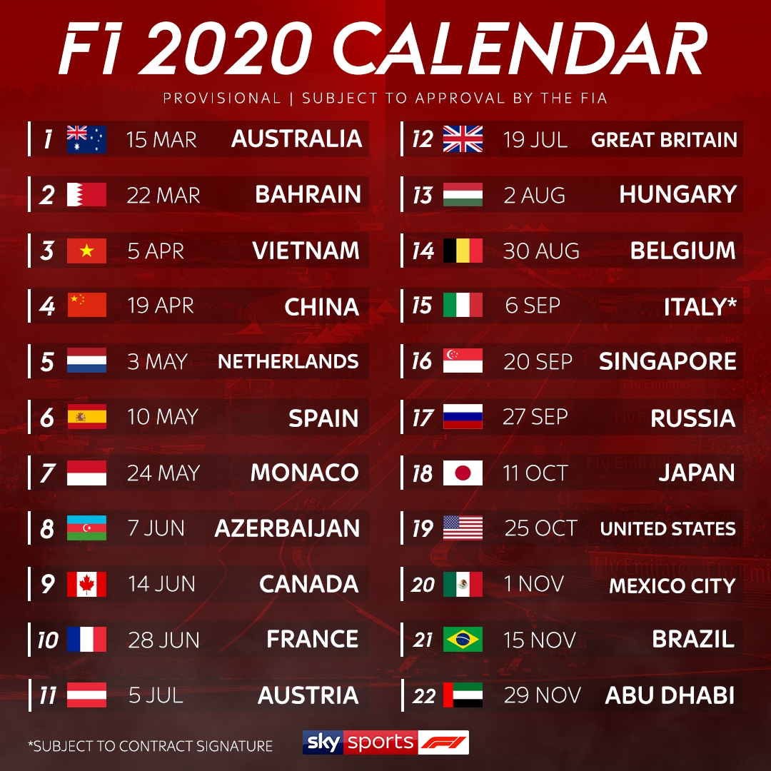 F1 2020 Schedule: Record 22-Race Calendar Revealed, German