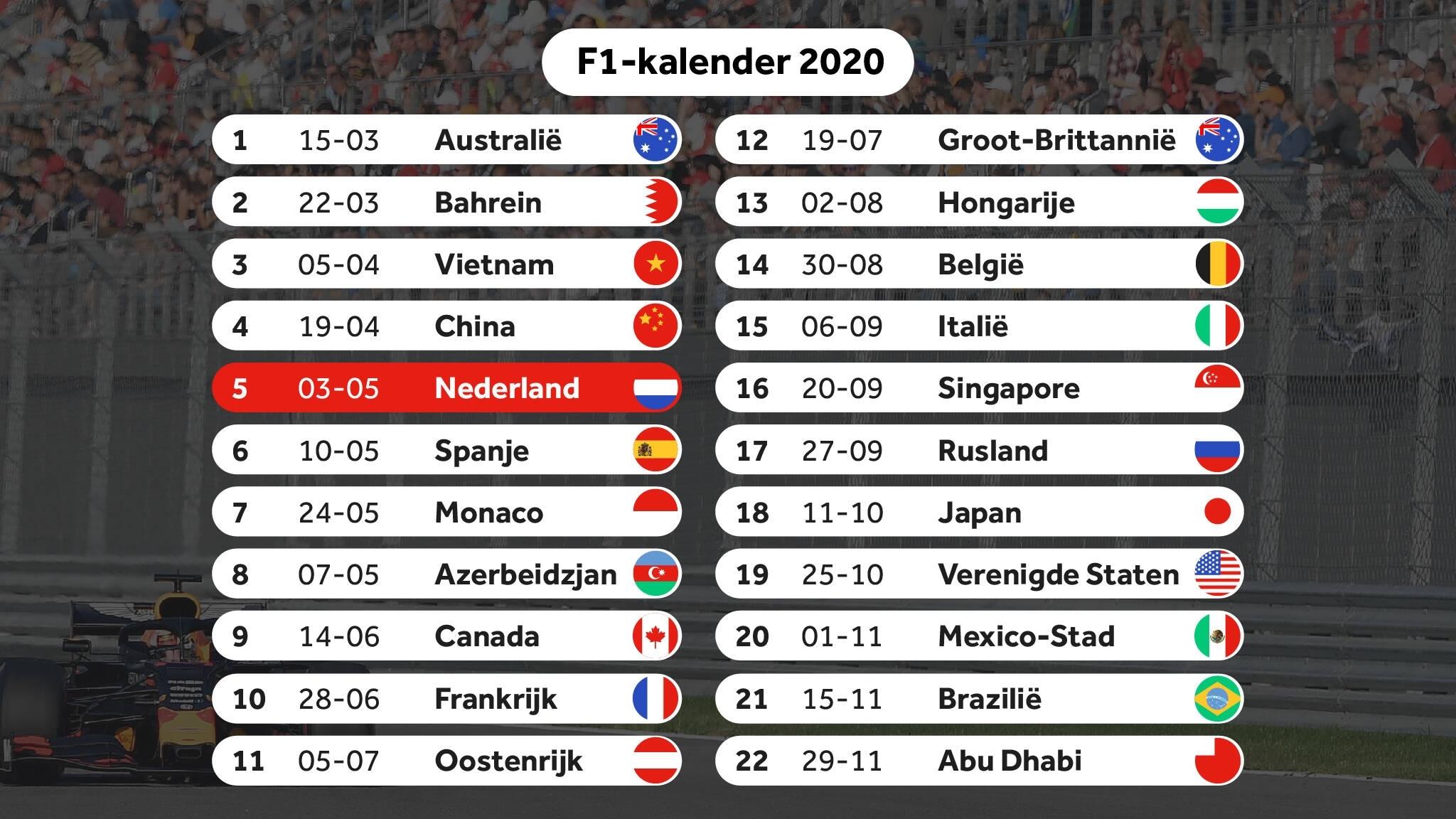 F1 Kalender 2020. Year 2020 Calendar. 2019-08-15
