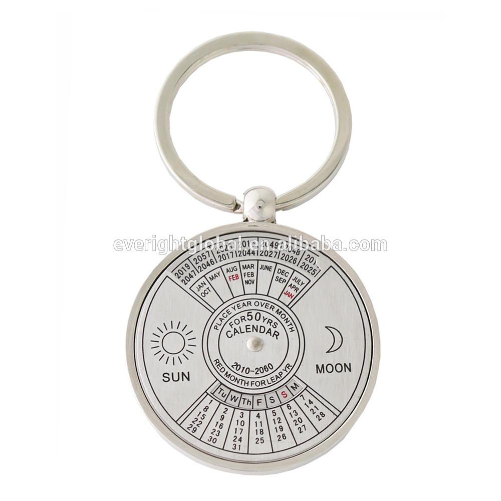 F318 Custom Laser Logo Perpetual 50-Year Calendar Zin Alloy Metal Keychain  In Round Shape - Buy Metal Calendar,50-Year Calendar Keychain,round Metal