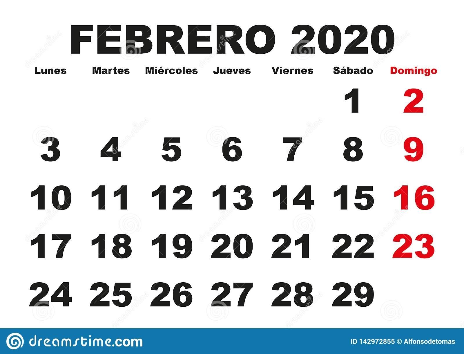 Febrero 2020 Wall Calendar Spanish Stock Vector