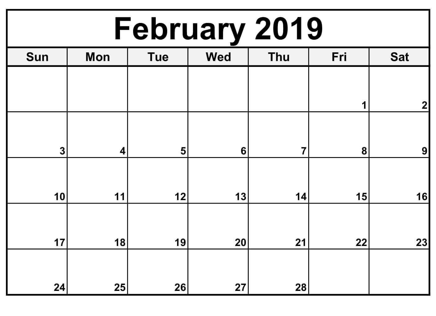 February 2019 Calendar Editable | Blank Calendar Template