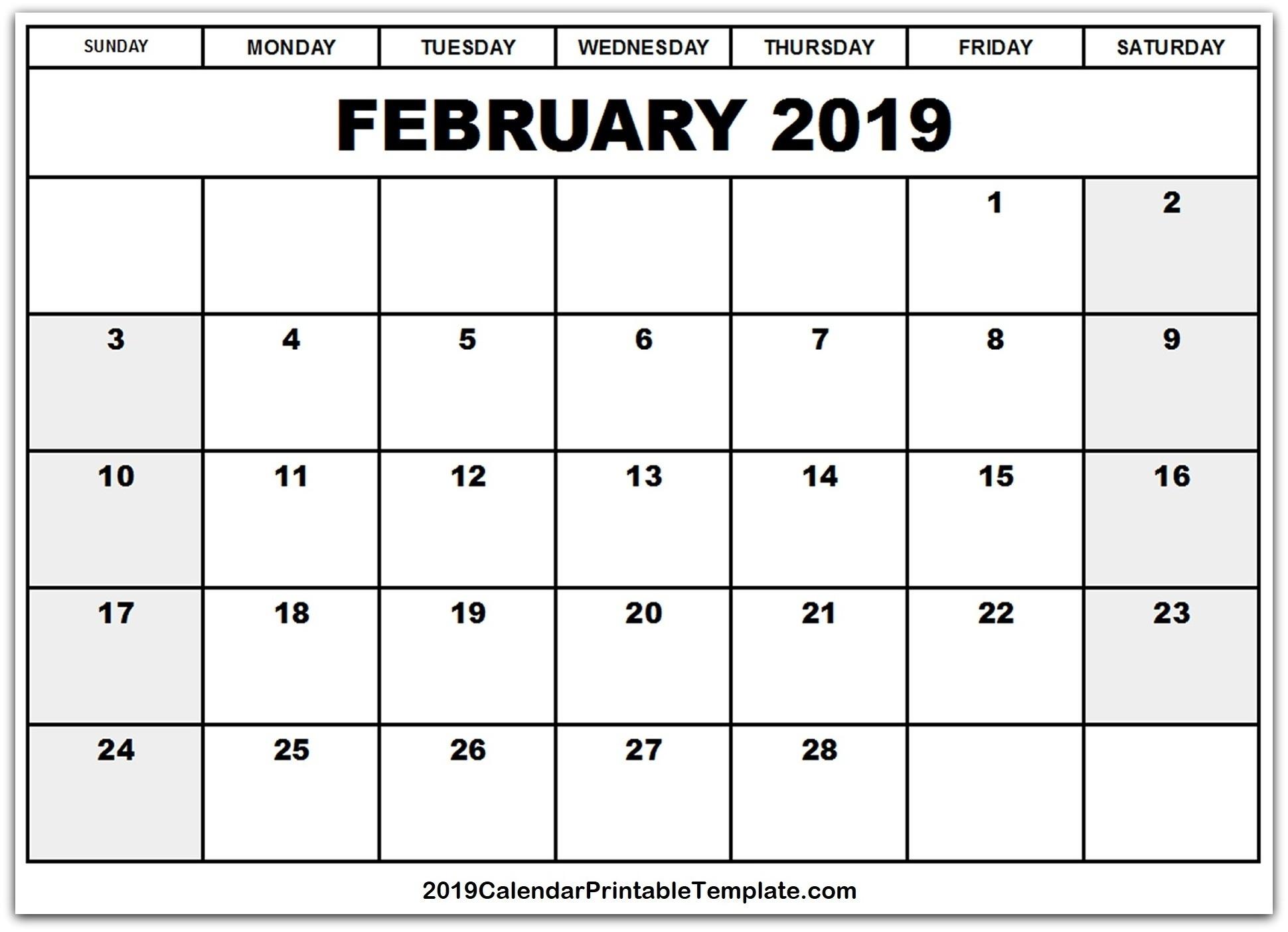 February 2019 Calendar Leap Year | Calendar Template