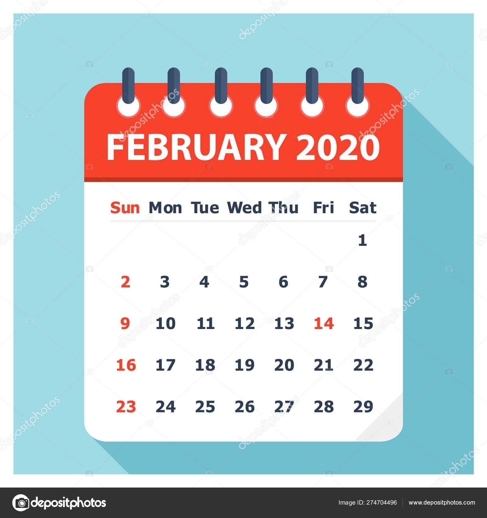 February 2020 - Calendar Icon - Calendar Design Template