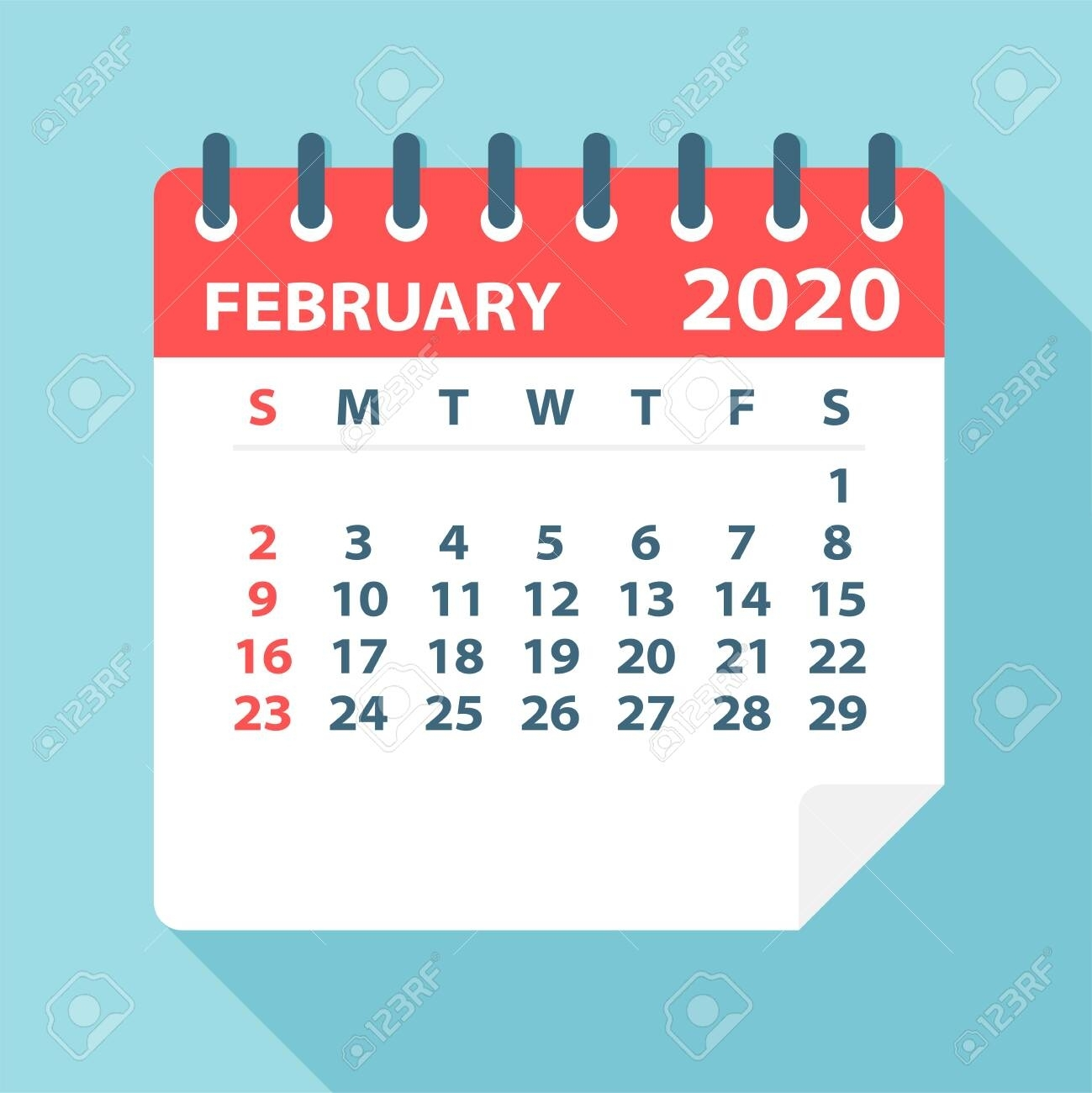 February 2020 Calendar Leaf - Illustration. Vector Graphic Page