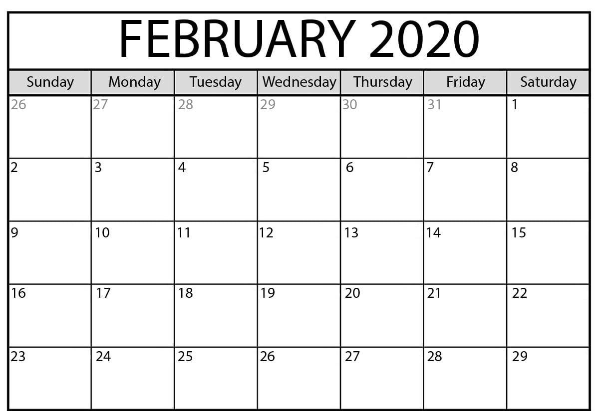 February 2020 Calendar Pdf | Monthly Calendar Template