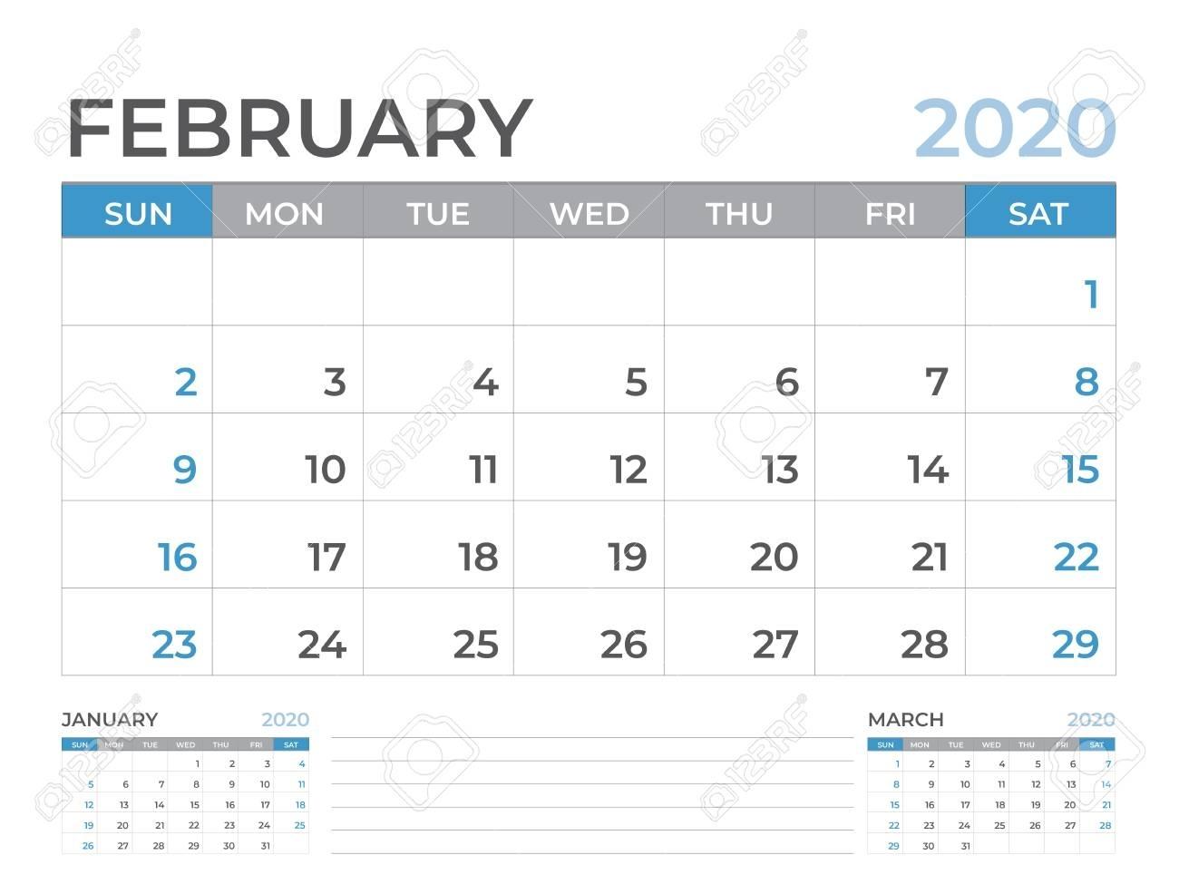 February 2020 Calendar Template, Desk Calendar Layout Size 8..