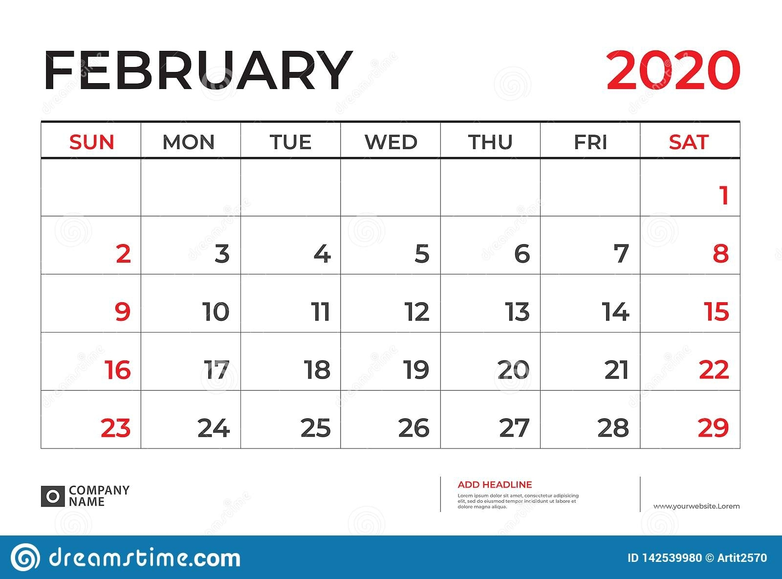February 2020 Calendar Template, Desk Calendar Layout Size