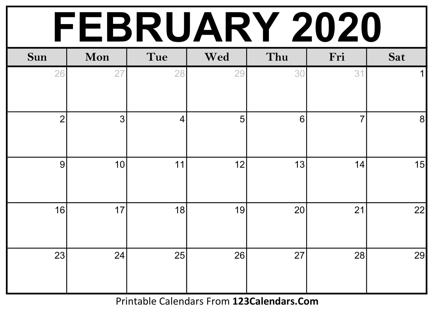 February 2020 Printable Calendar   123Calendars