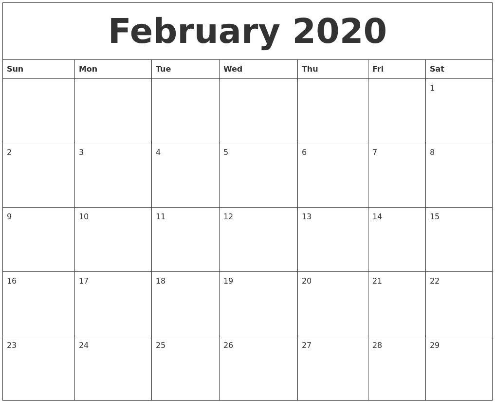 February 2020 Printable Calendar Pdf