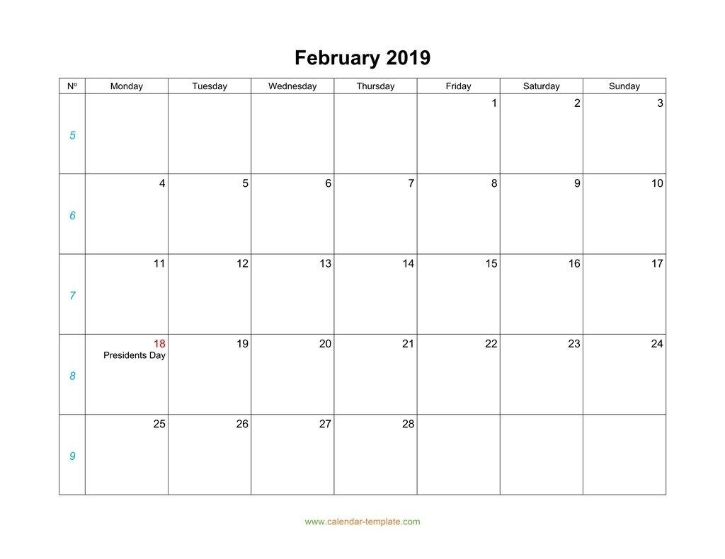 February Calendar 2019 Blank Template