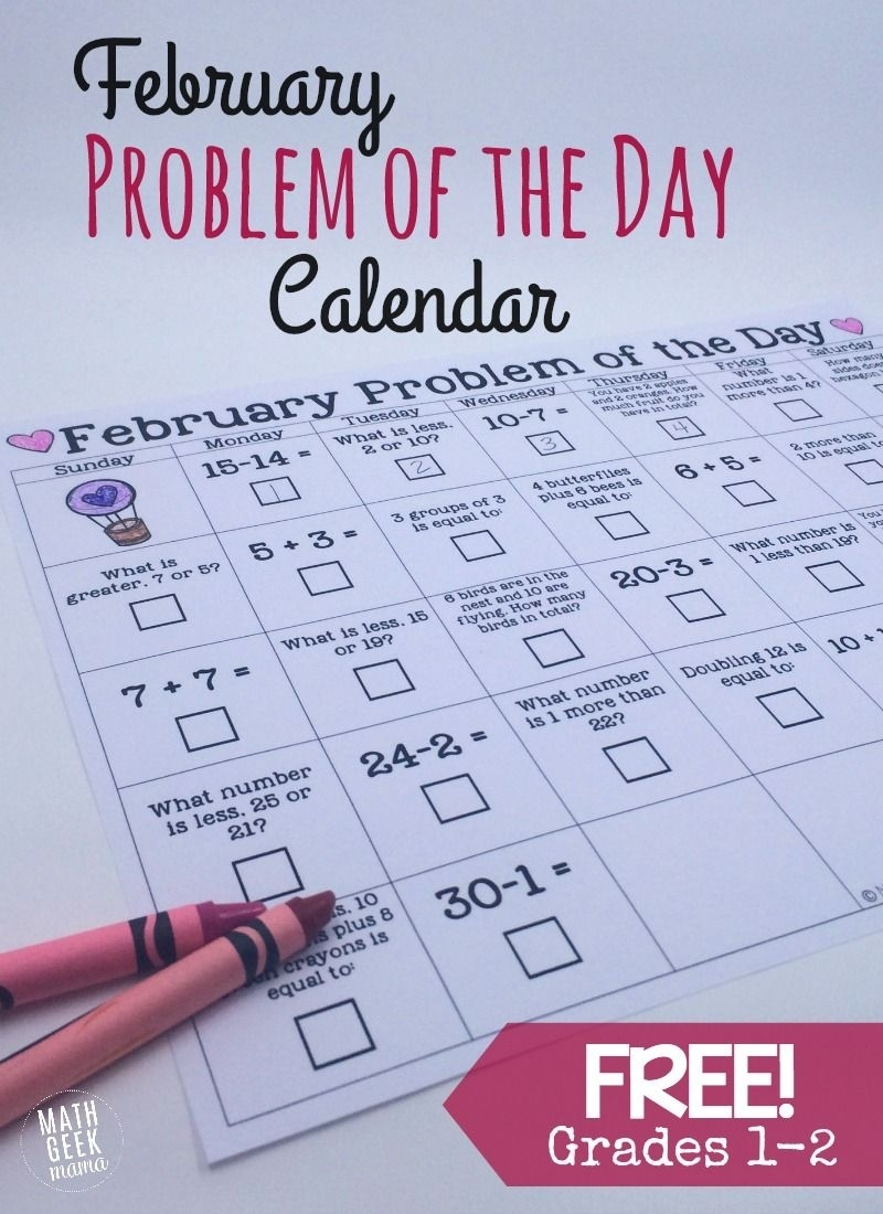 February Math Problem Of The Day Calendar {Free} | Teaching