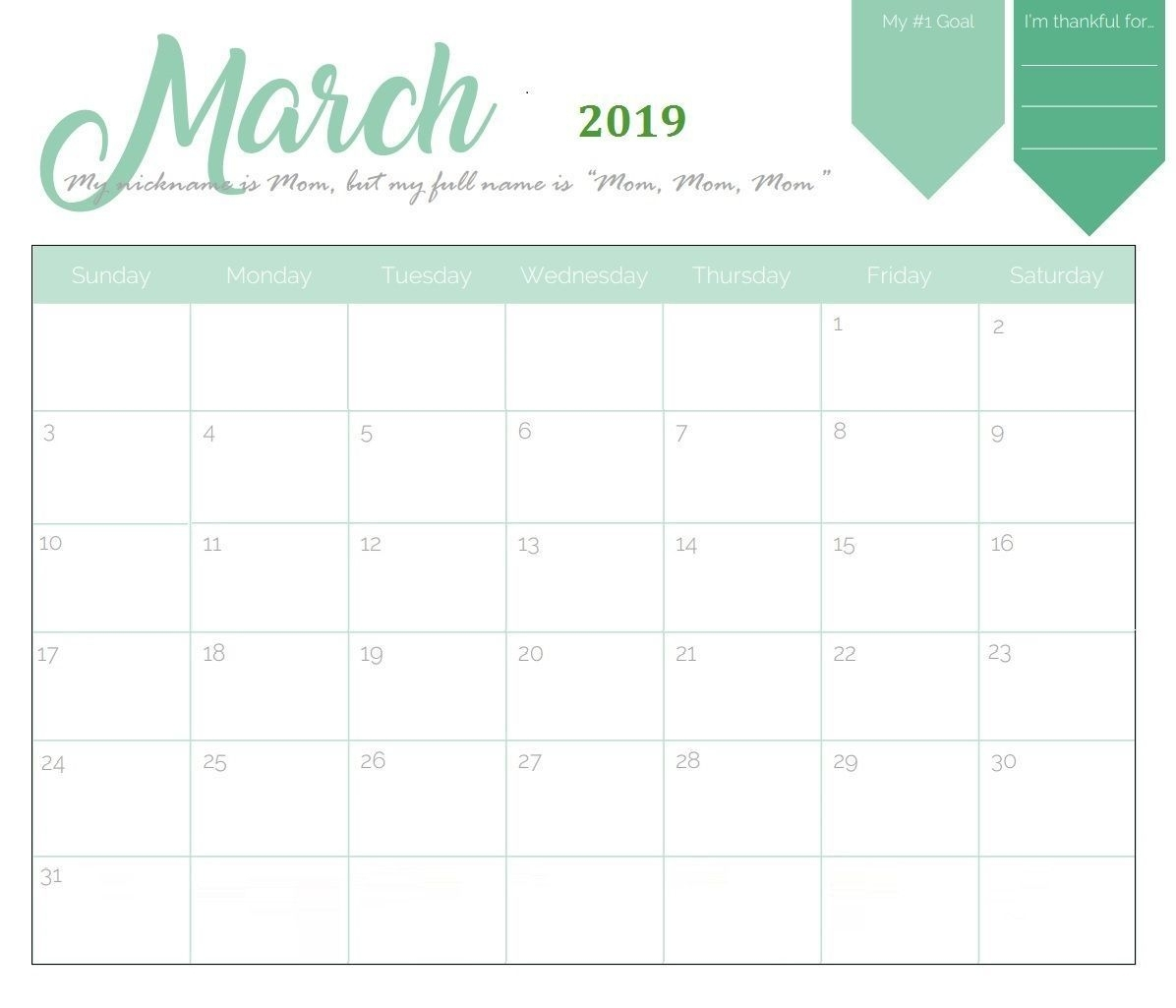 Fillable March 2019 Calendar Pdf Word Excel | Online