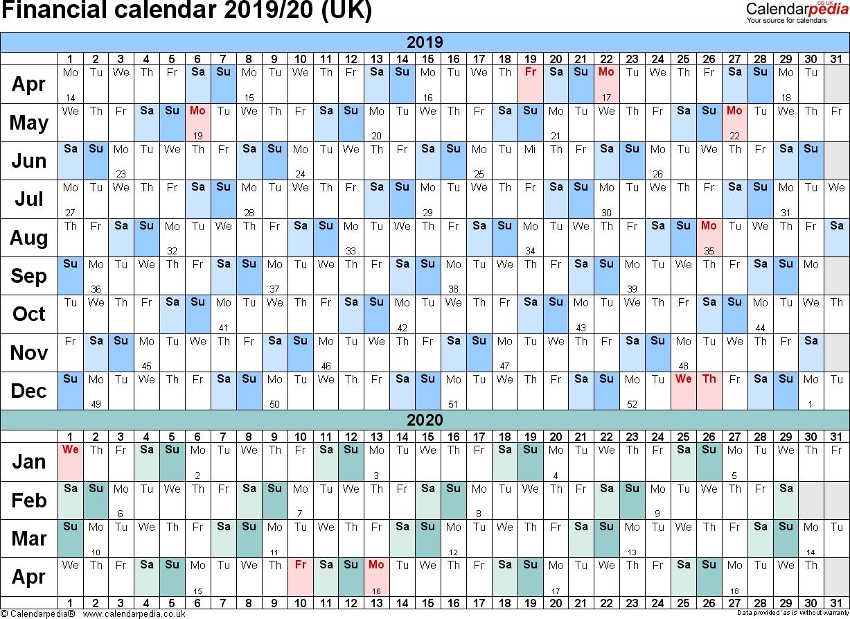Financial Calendars 2019/20 (Uk) In Pdf Format