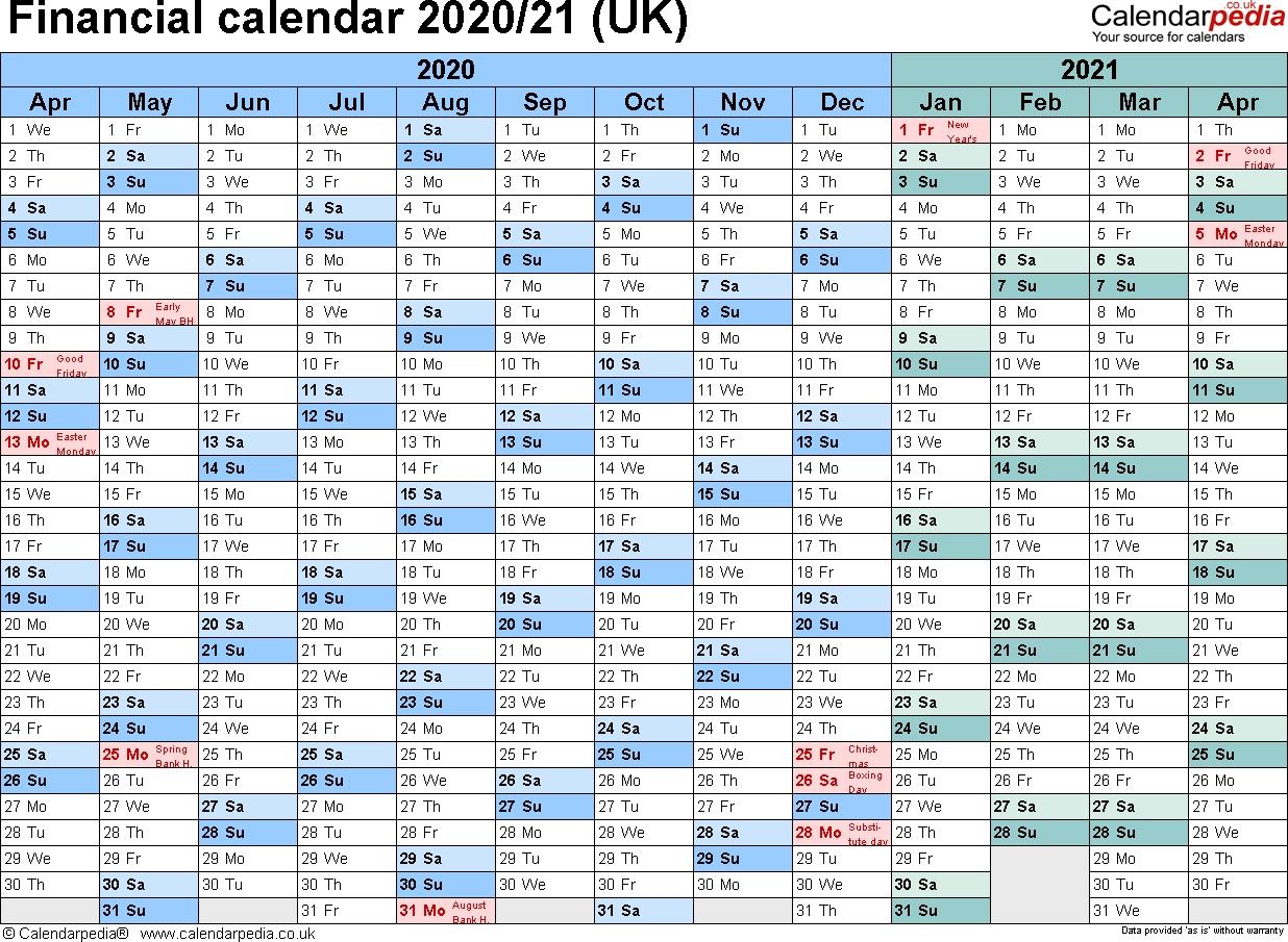 Financial Calendars 2020/21 (Uk) In Microsoft Excel Format