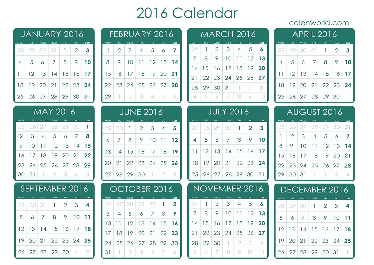 Find Your Free Printable Calendar For 2016 Here. Simply