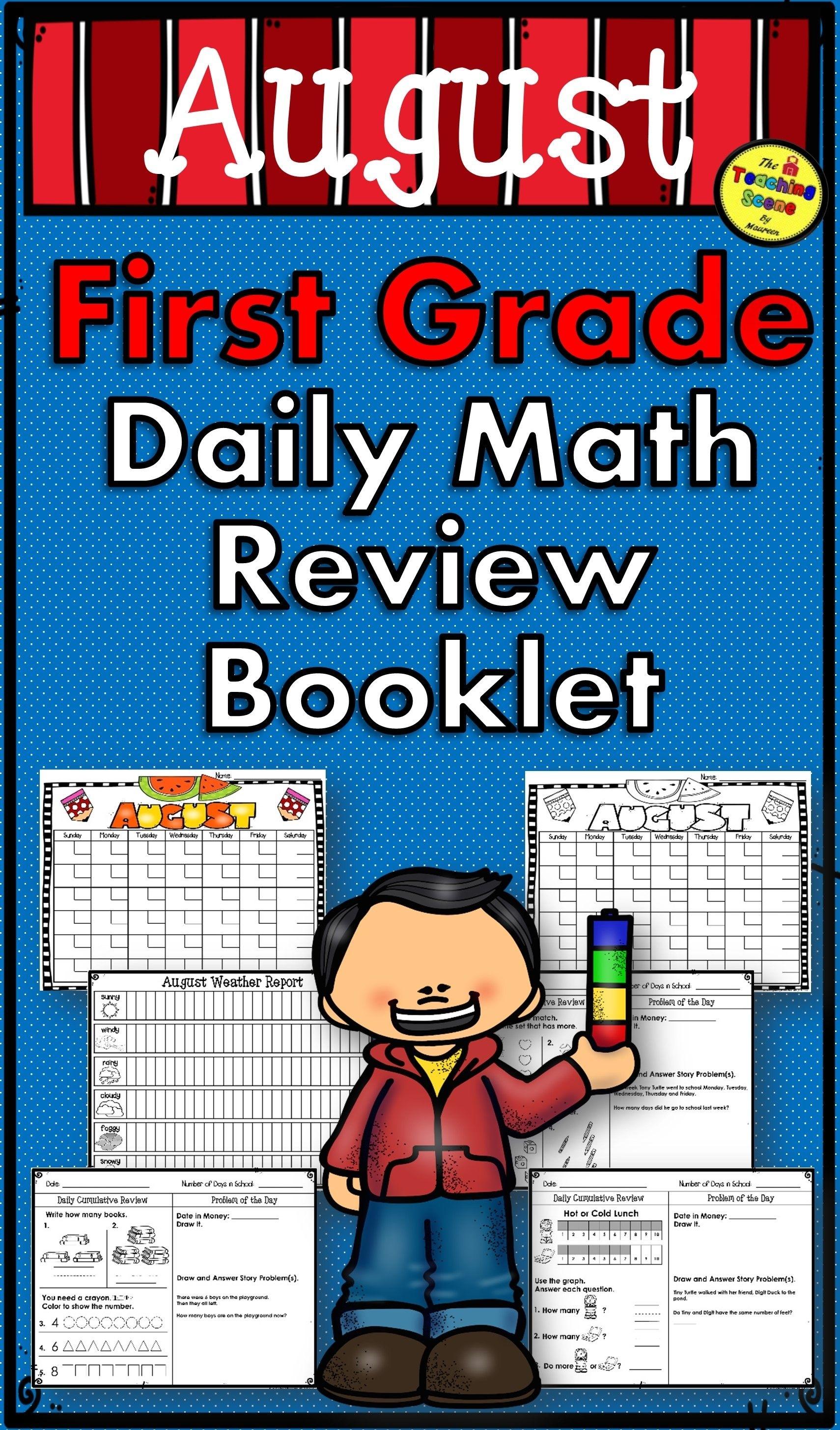 First Grade Daily Calendar & Math Review Booklet: August