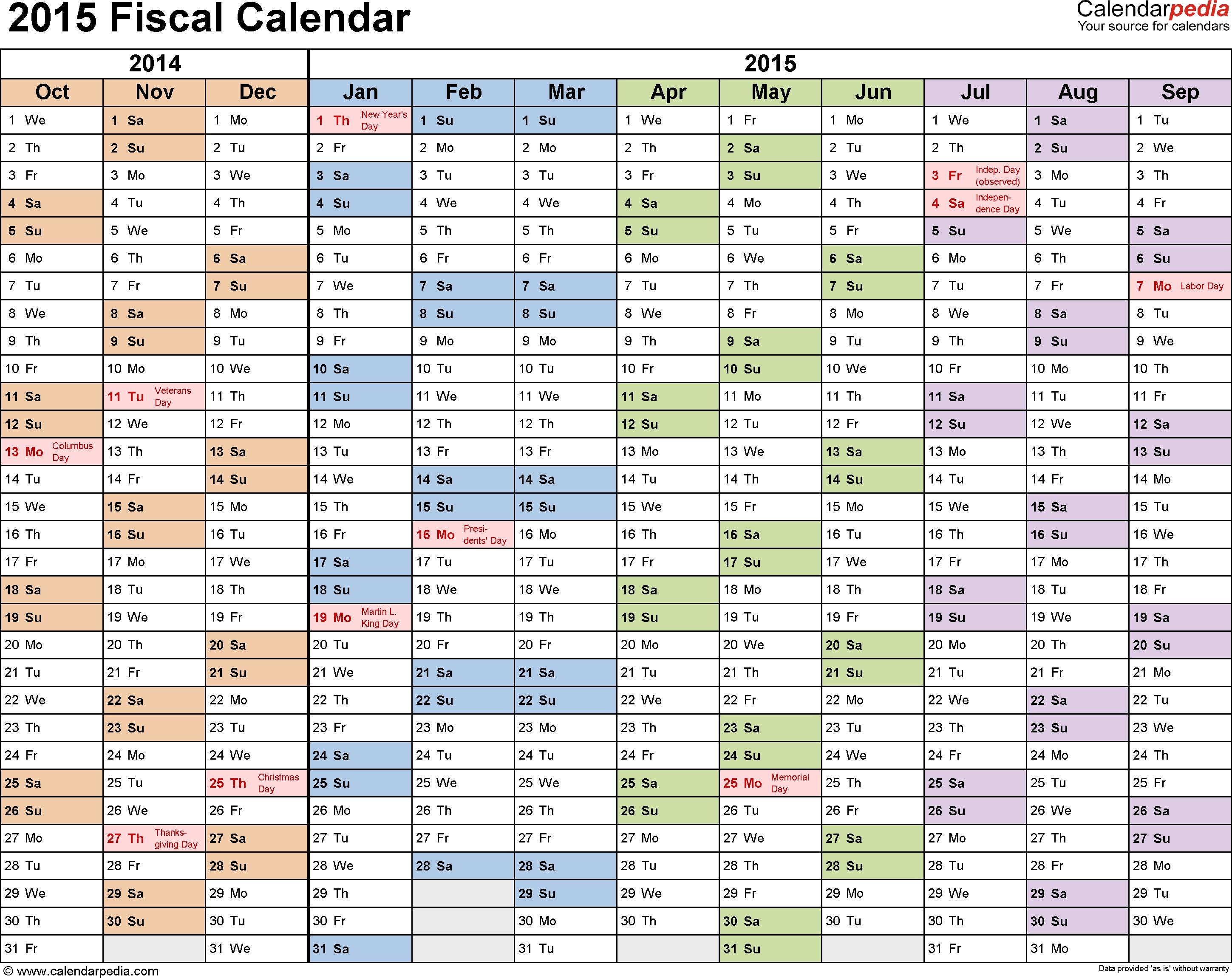 Fiscal Calendars 2015 - Free Printable Pdf Templates