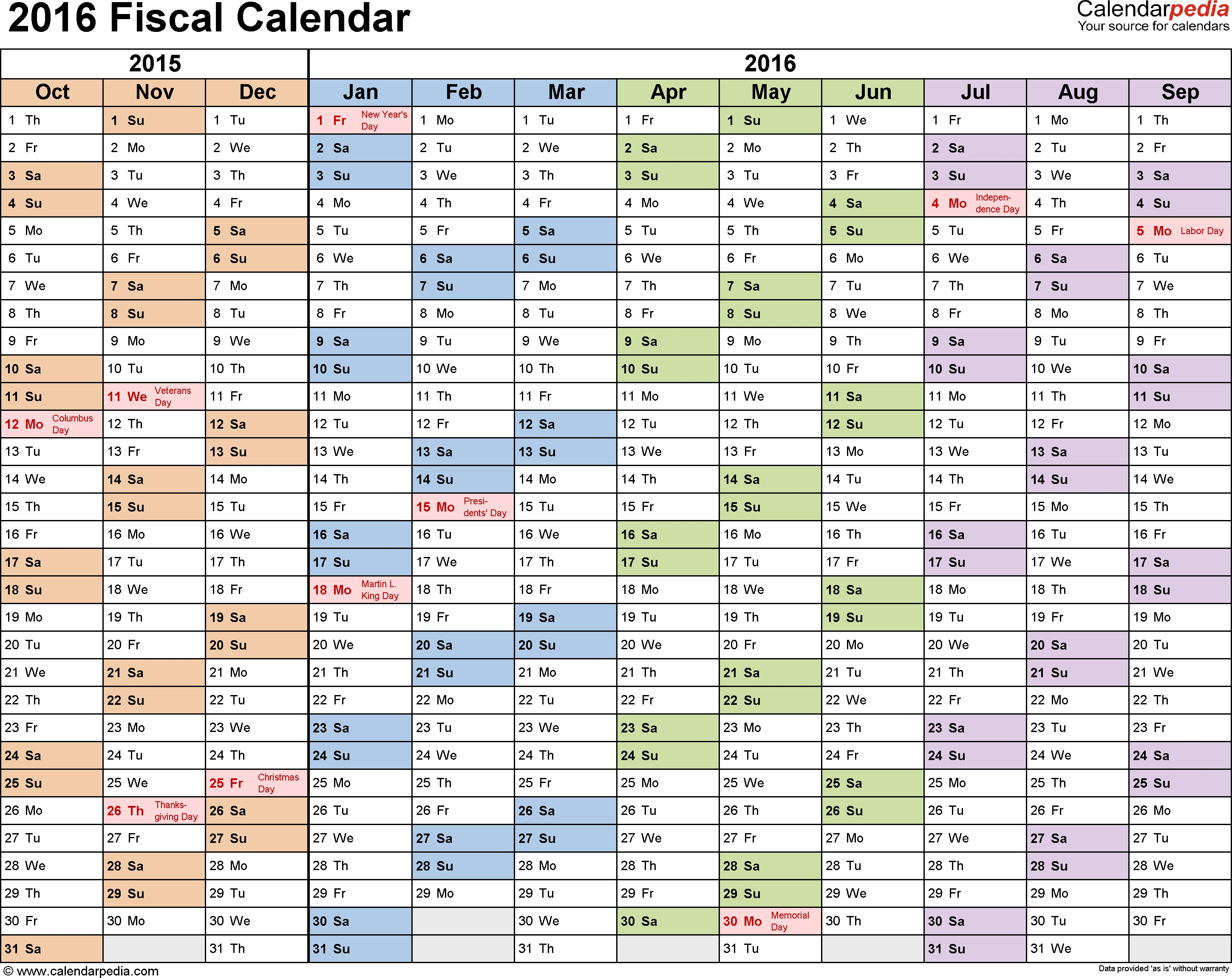 Fiscal Calendars 2016 - Free Printable Excel Templates