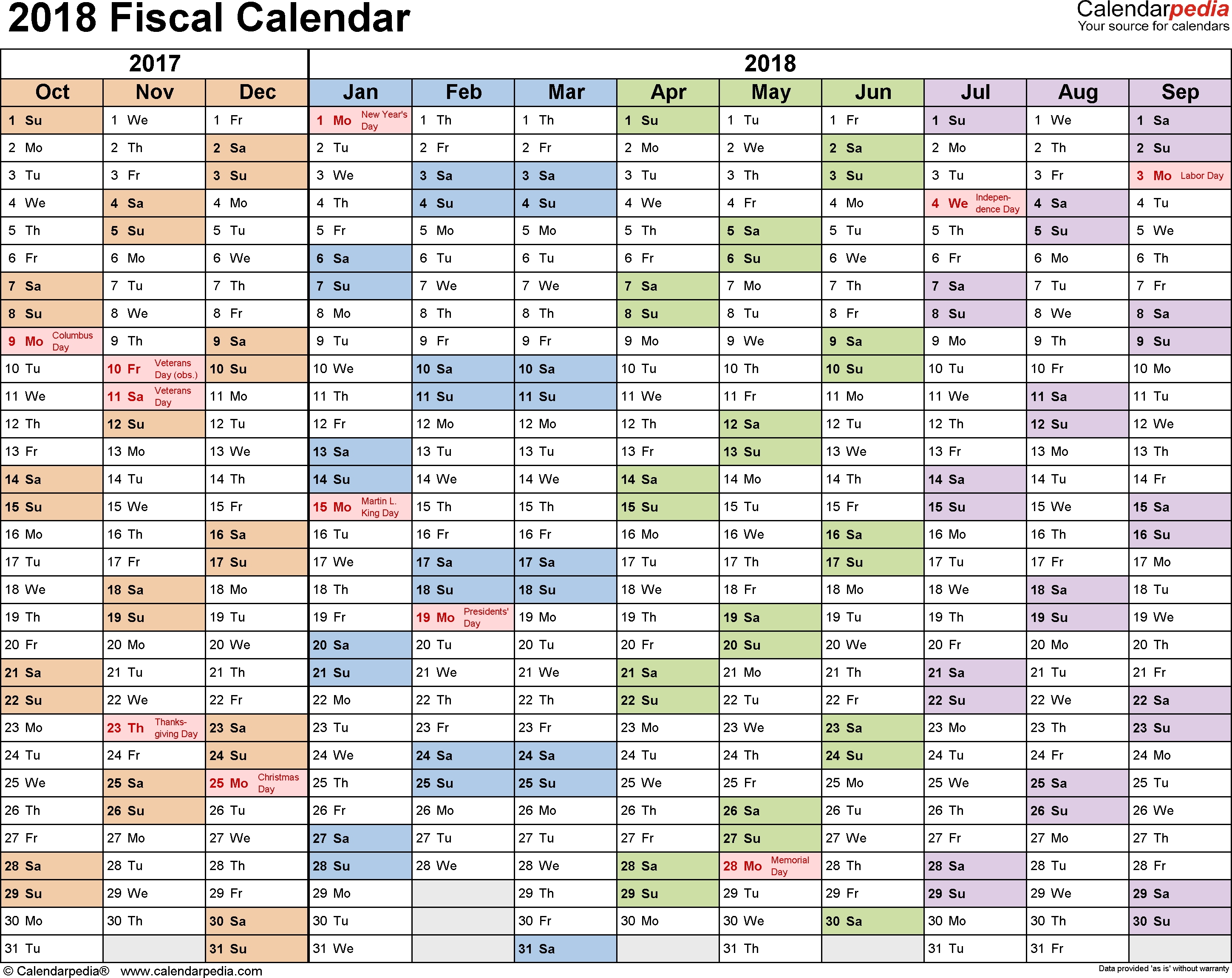 Fiscal Calendars 2018 - Free Printable Pdf Templates
