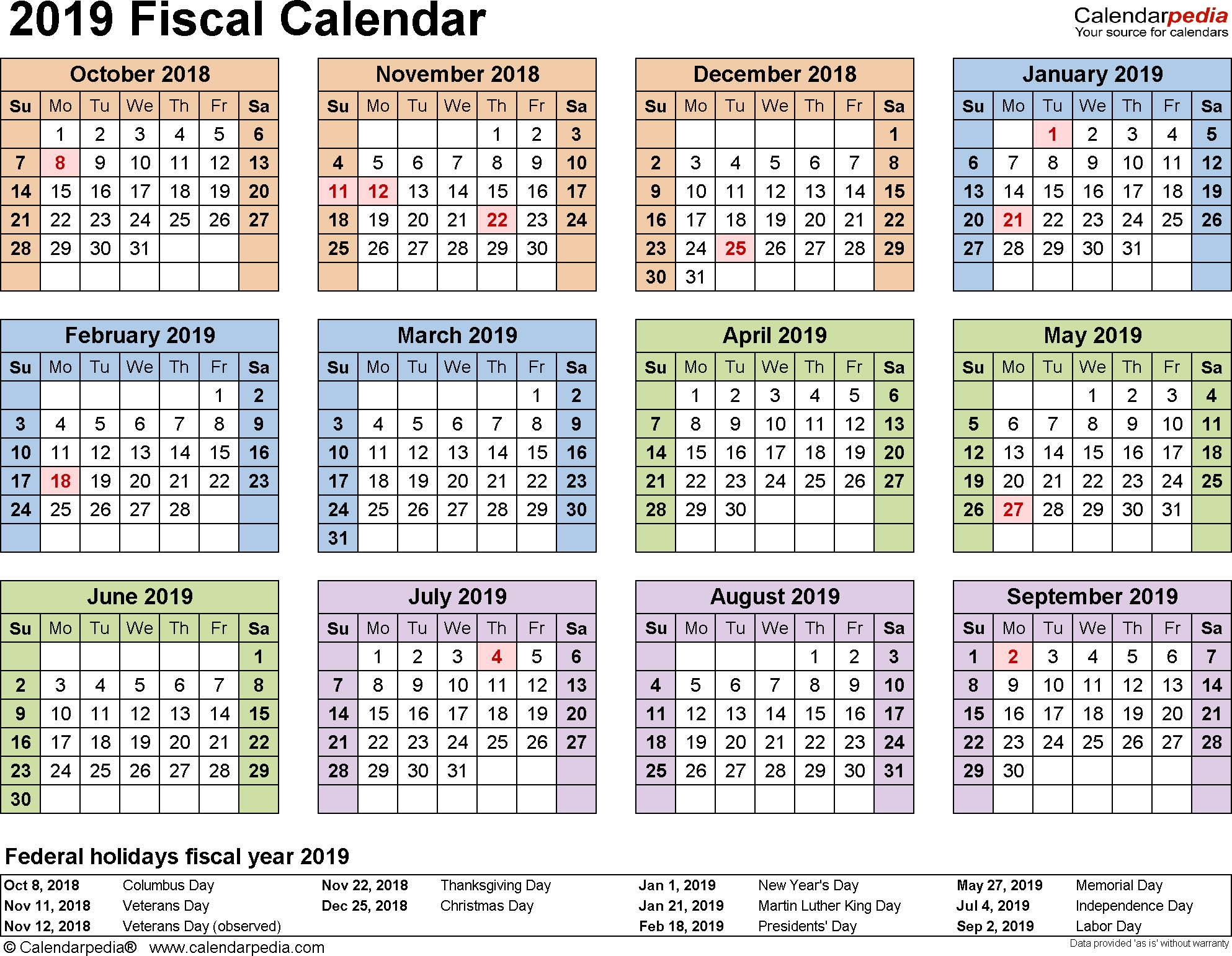 Fiscal Calendars 2019 - Free Printable Pdf Templates