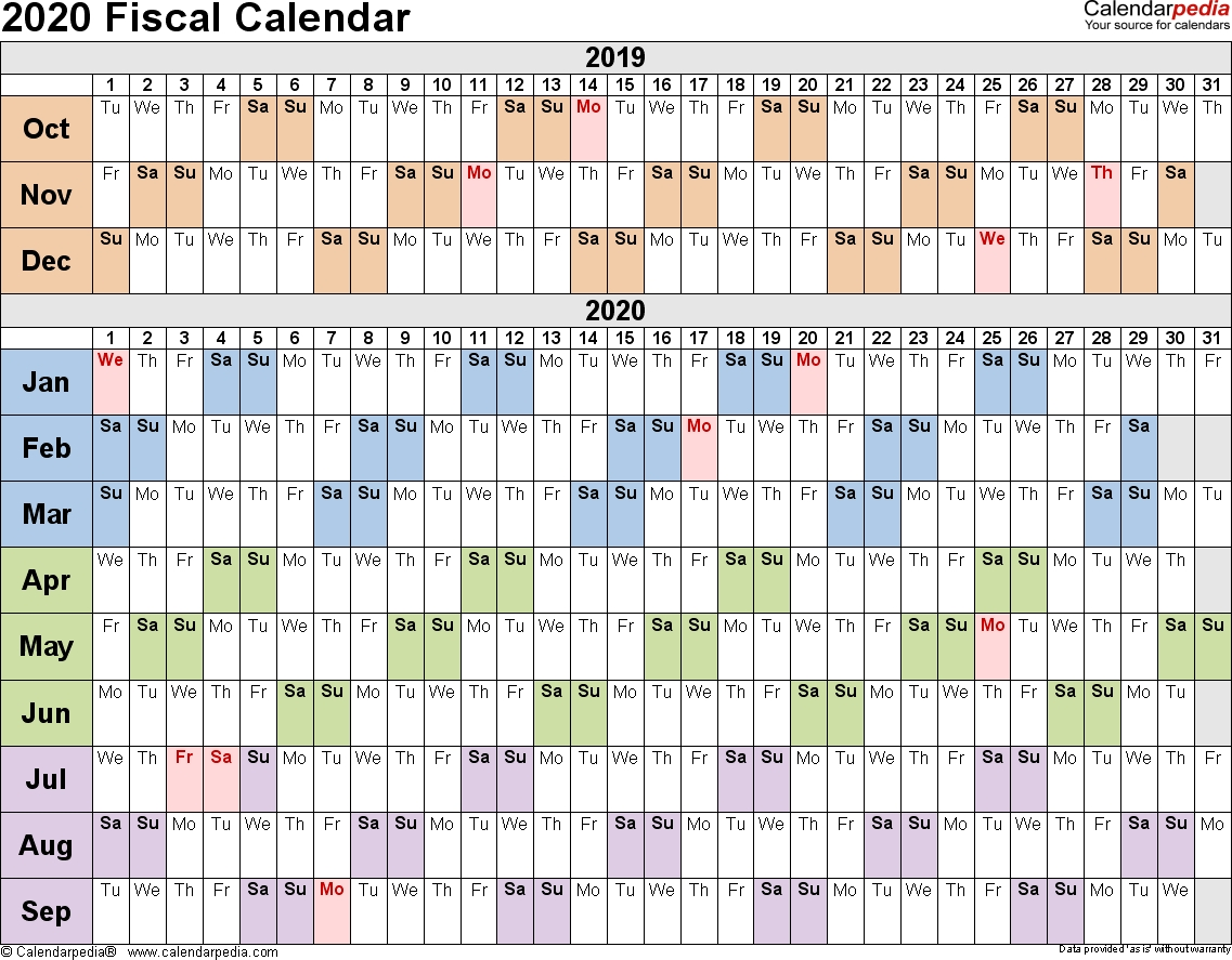 Fiscal Calendars 2020 - Free Printable Excel Templates