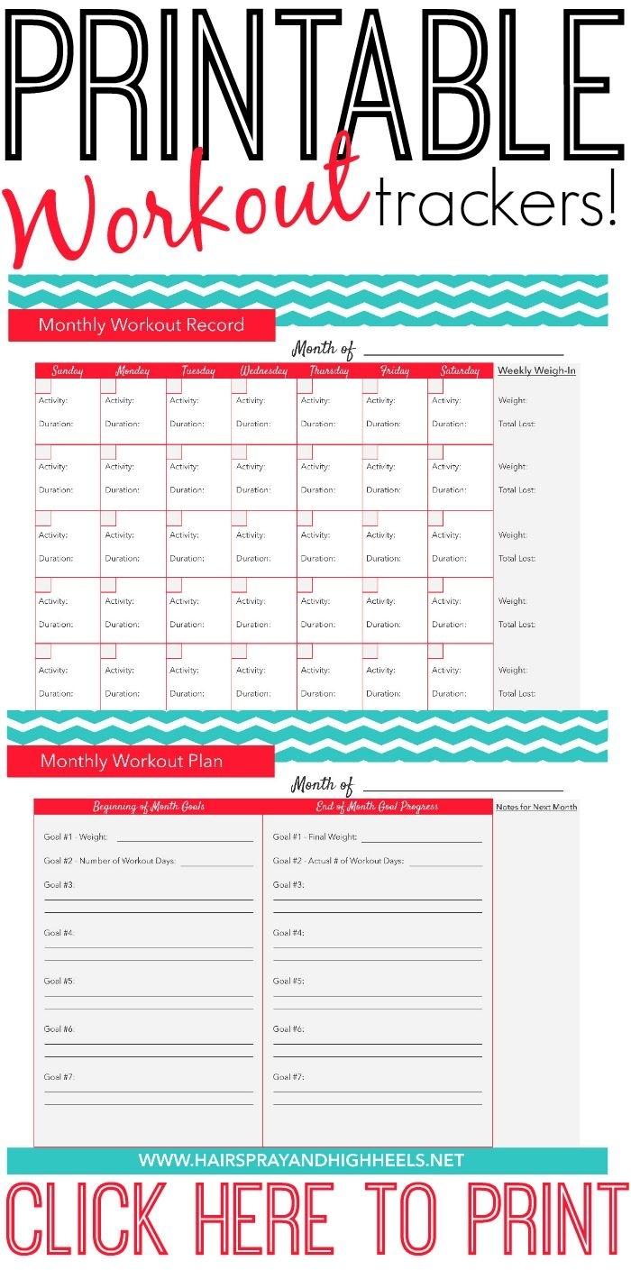 Fitness Tracker Printable | Workout Calendar, Fitness