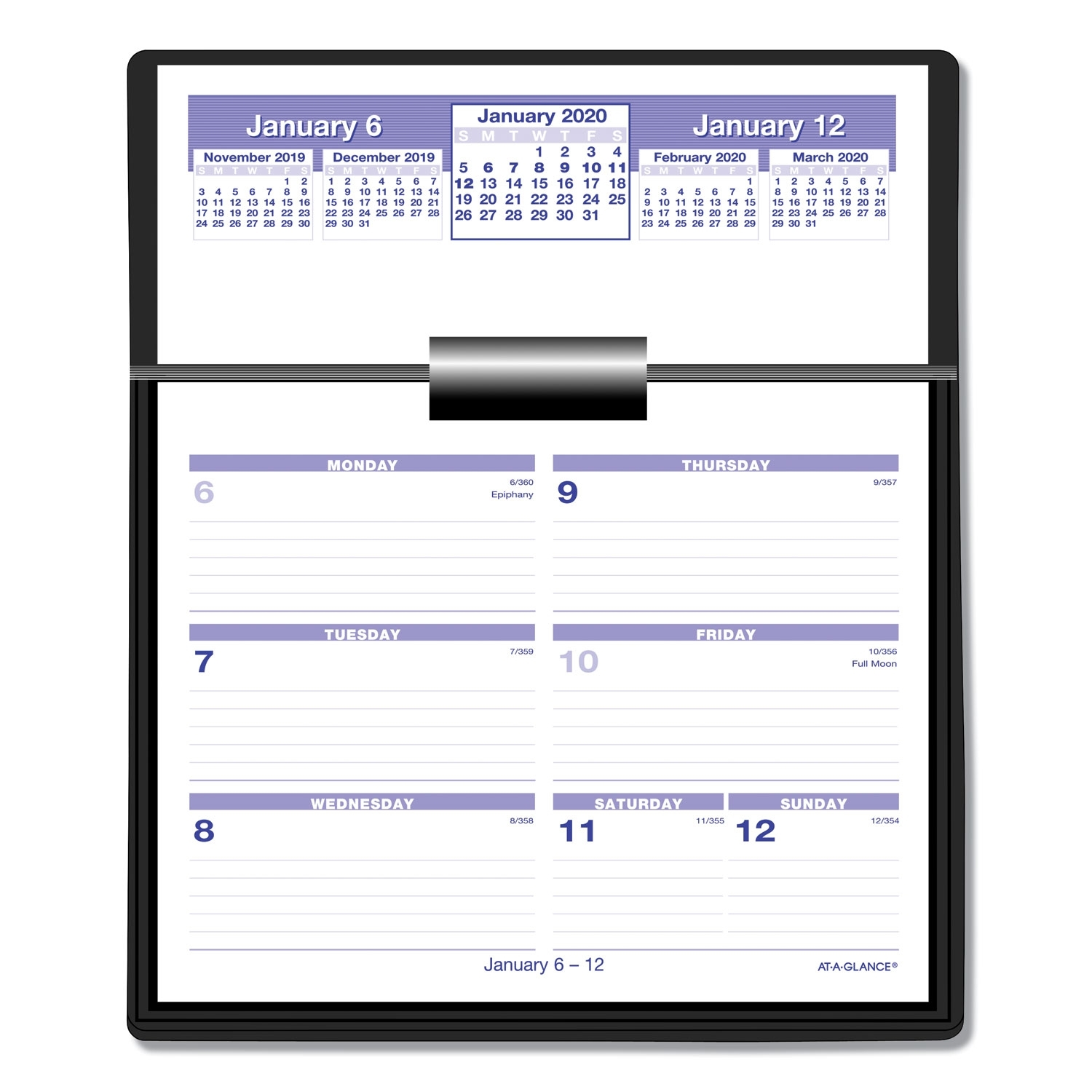 Flip-A-Week Desk Calendar And Base, 5 5/8 X 7, White, 2020