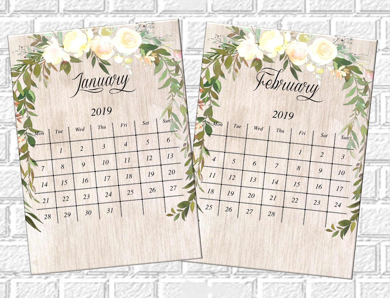 Floral Calendar 2019 Printable Monthly Desk Calendar, Printable Pdf  Calendar 2019 Mini Desk Calendar Desktop Calendar Small Desktop Calendar