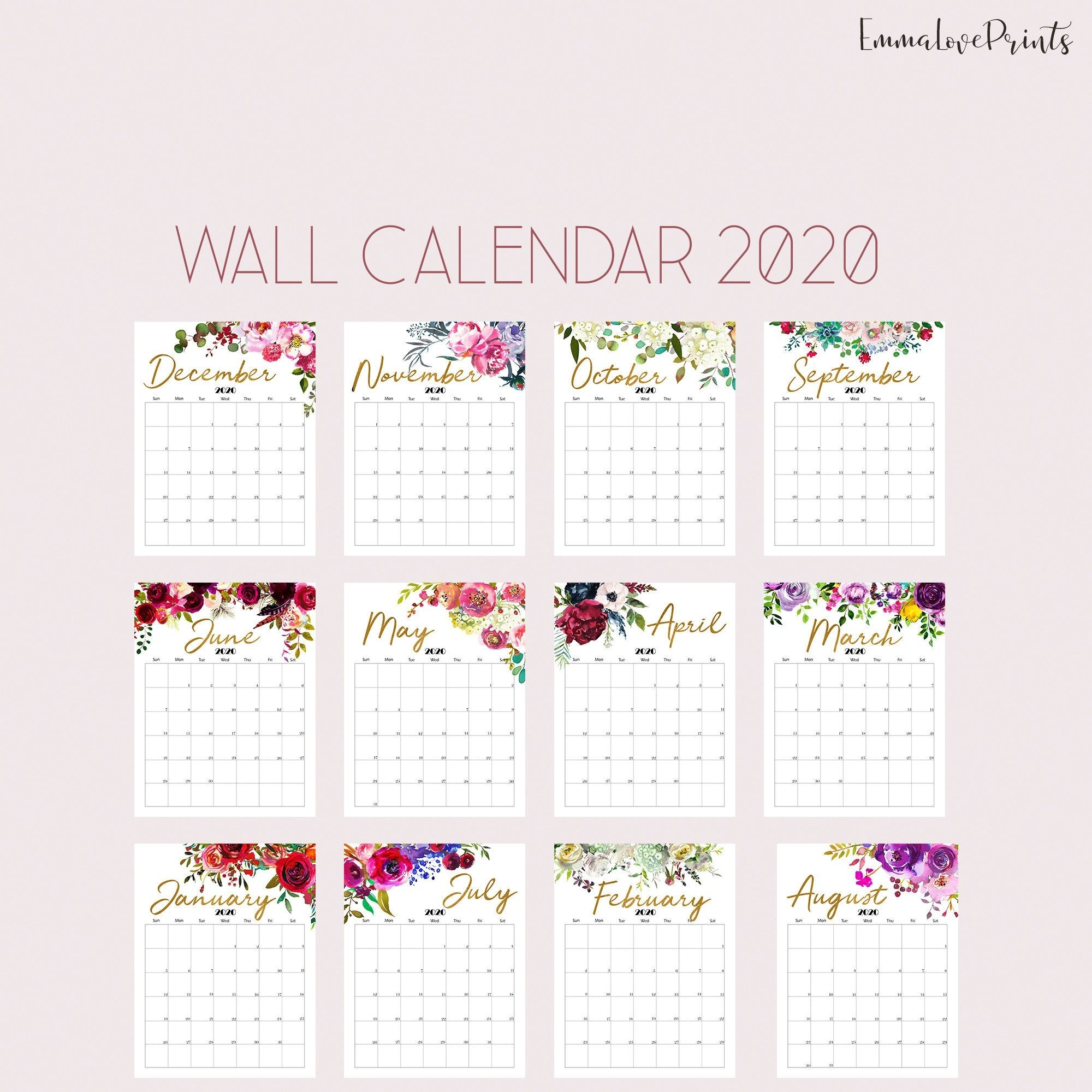 Floral Wall Calendar, Botanical Calendar 2020, Watercolour
